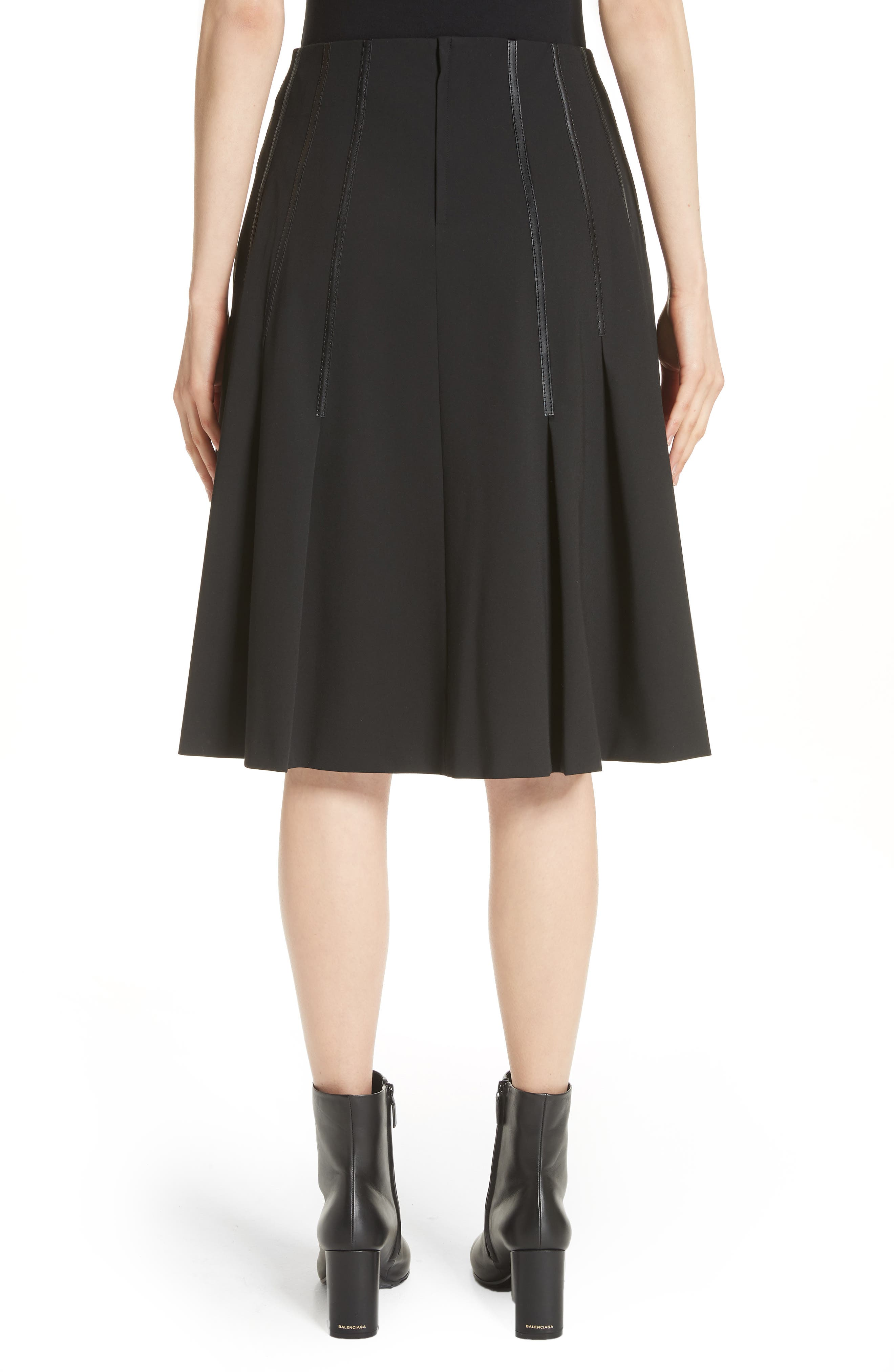 Pleated Faux Leather Trim Skirt,                             Alternate thumbnail 2, color,                             Black