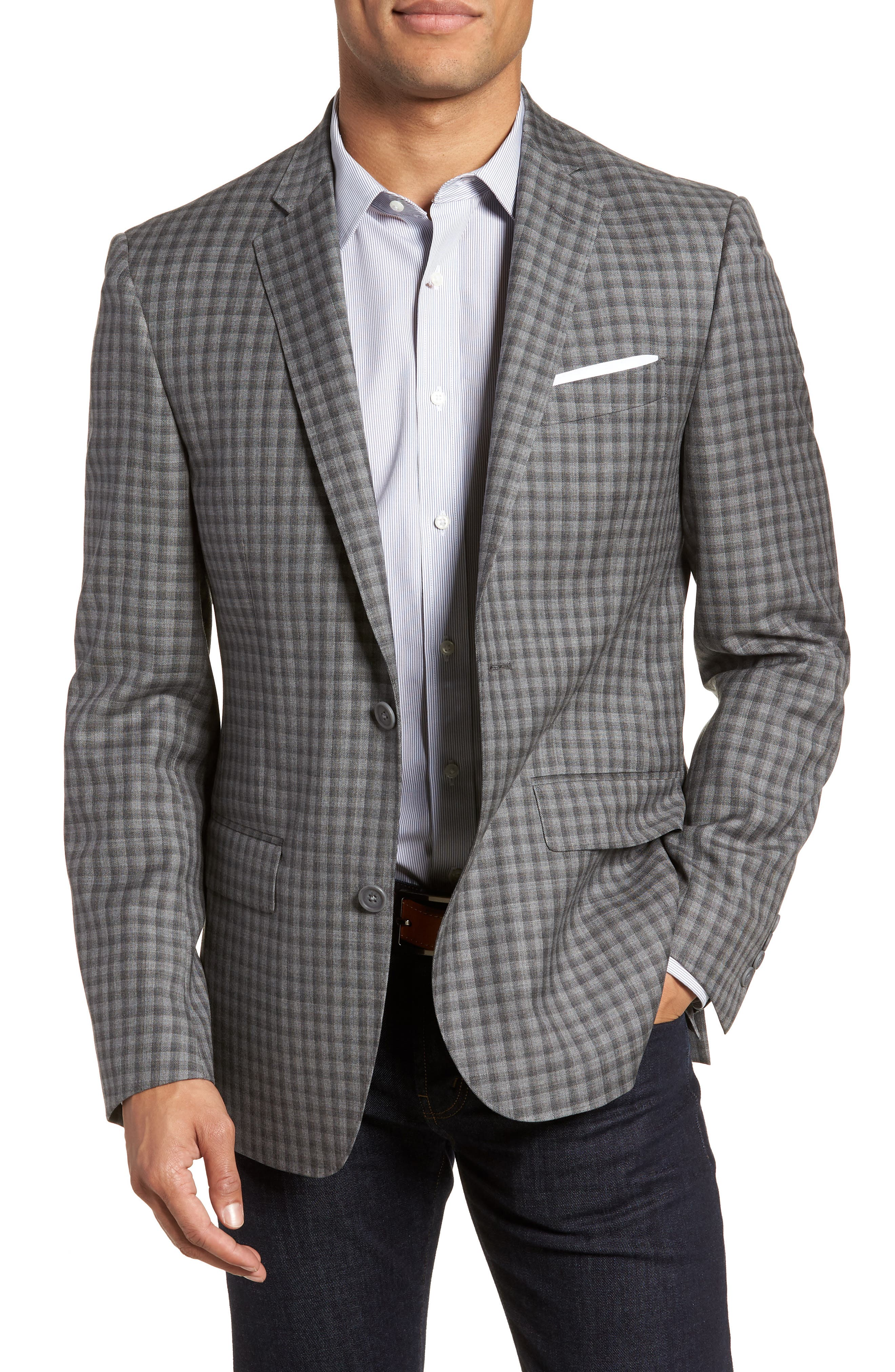 Nordstrom Men's Shop Trim Fit Check Wool Sport Coat