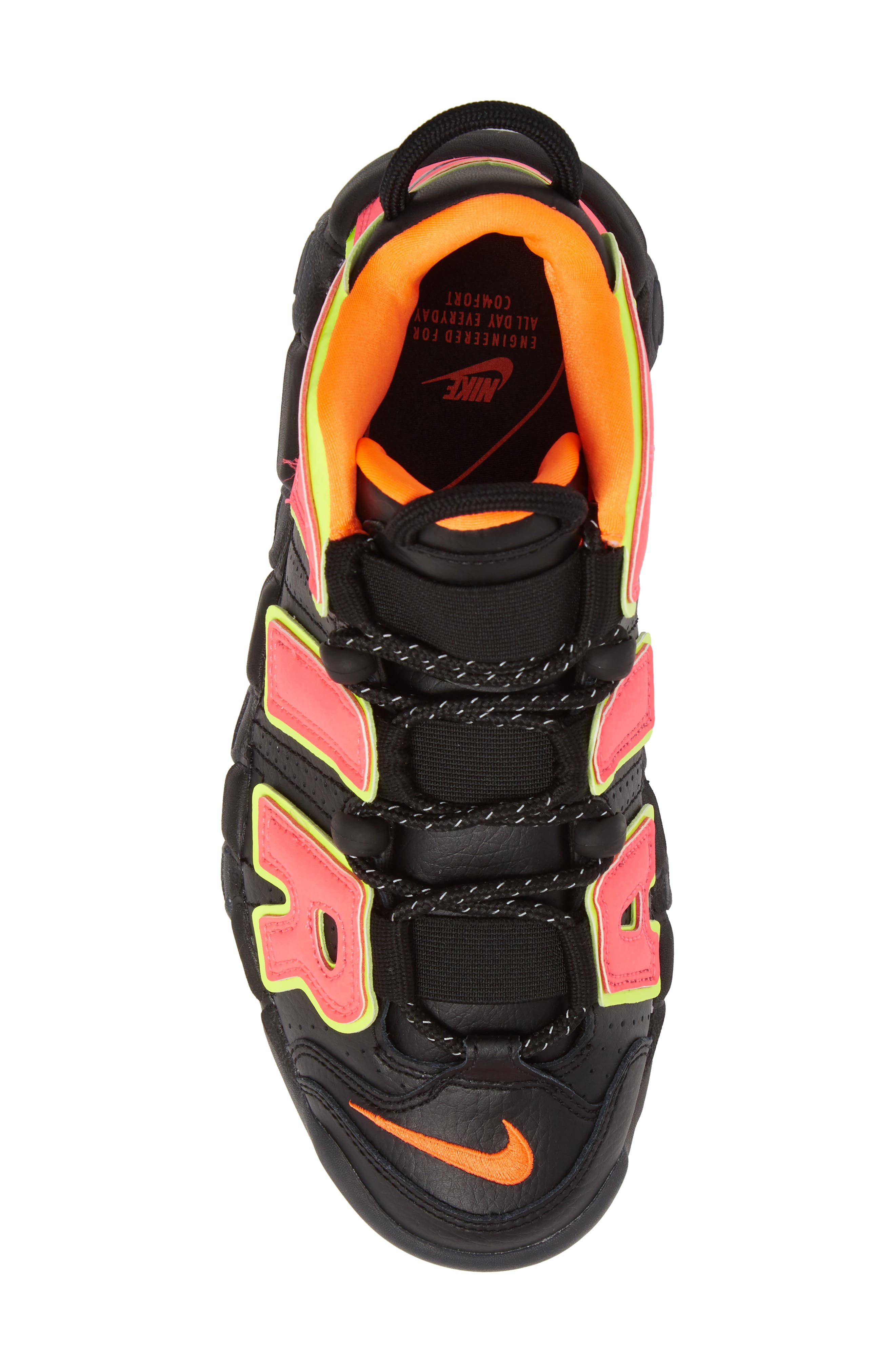Air More Uptempo Sneaker,                             Alternate thumbnail 5, color,                             Black/ Punch/ Total Orange