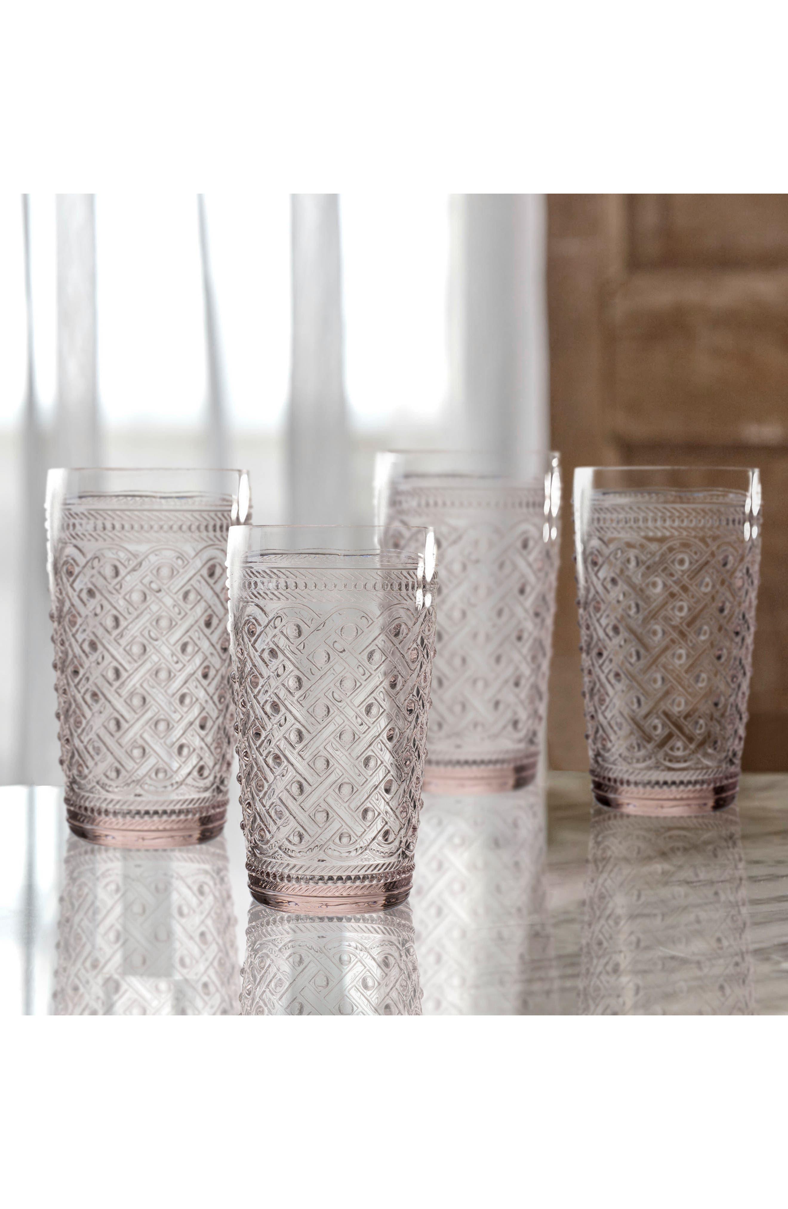 Bistro Ikat Set of 4 Highball Glasses,                             Alternate thumbnail 2, color,                             Pink