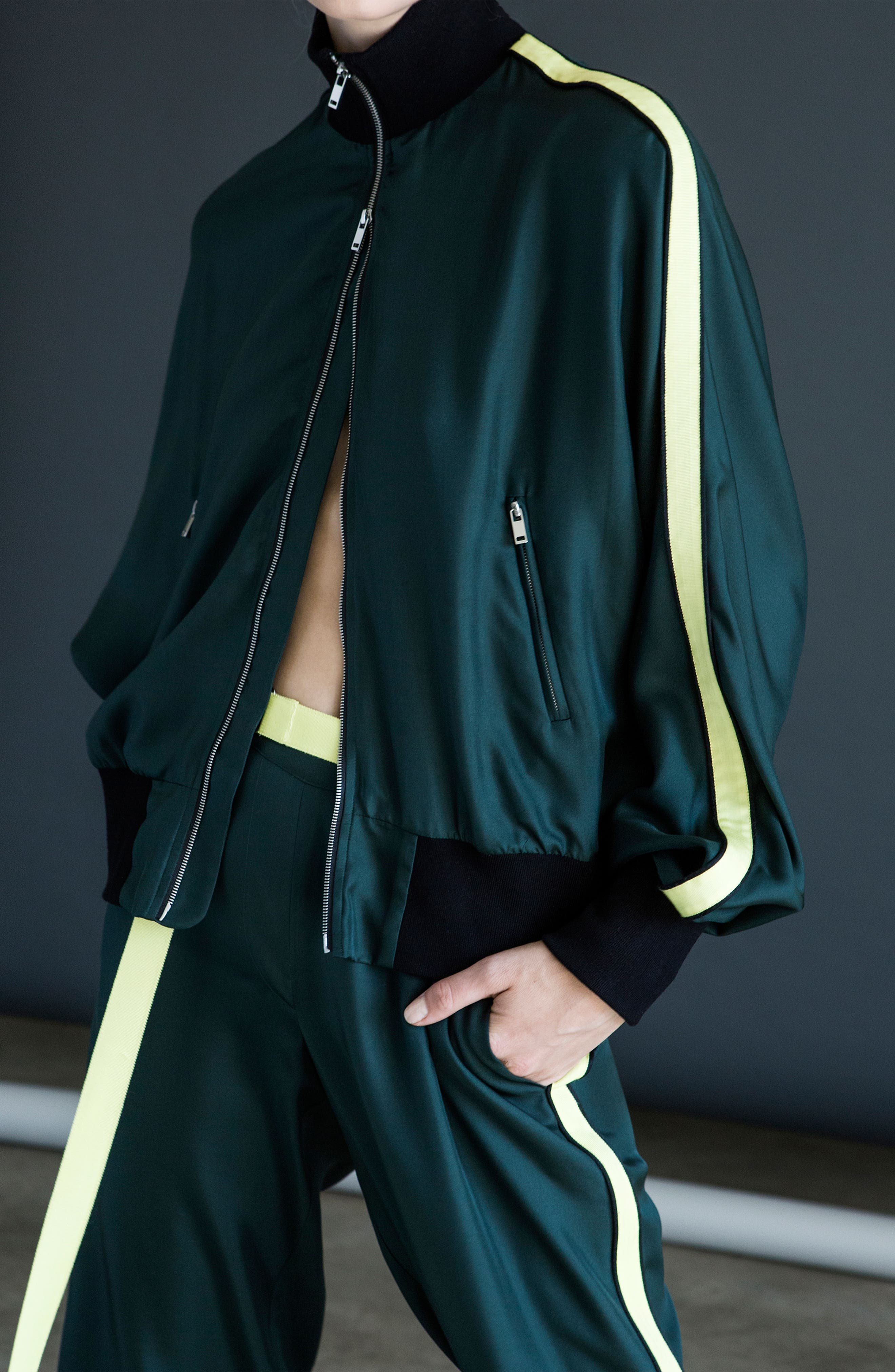 Silk Track Jacket,                             Alternate thumbnail 3, color,                             Green