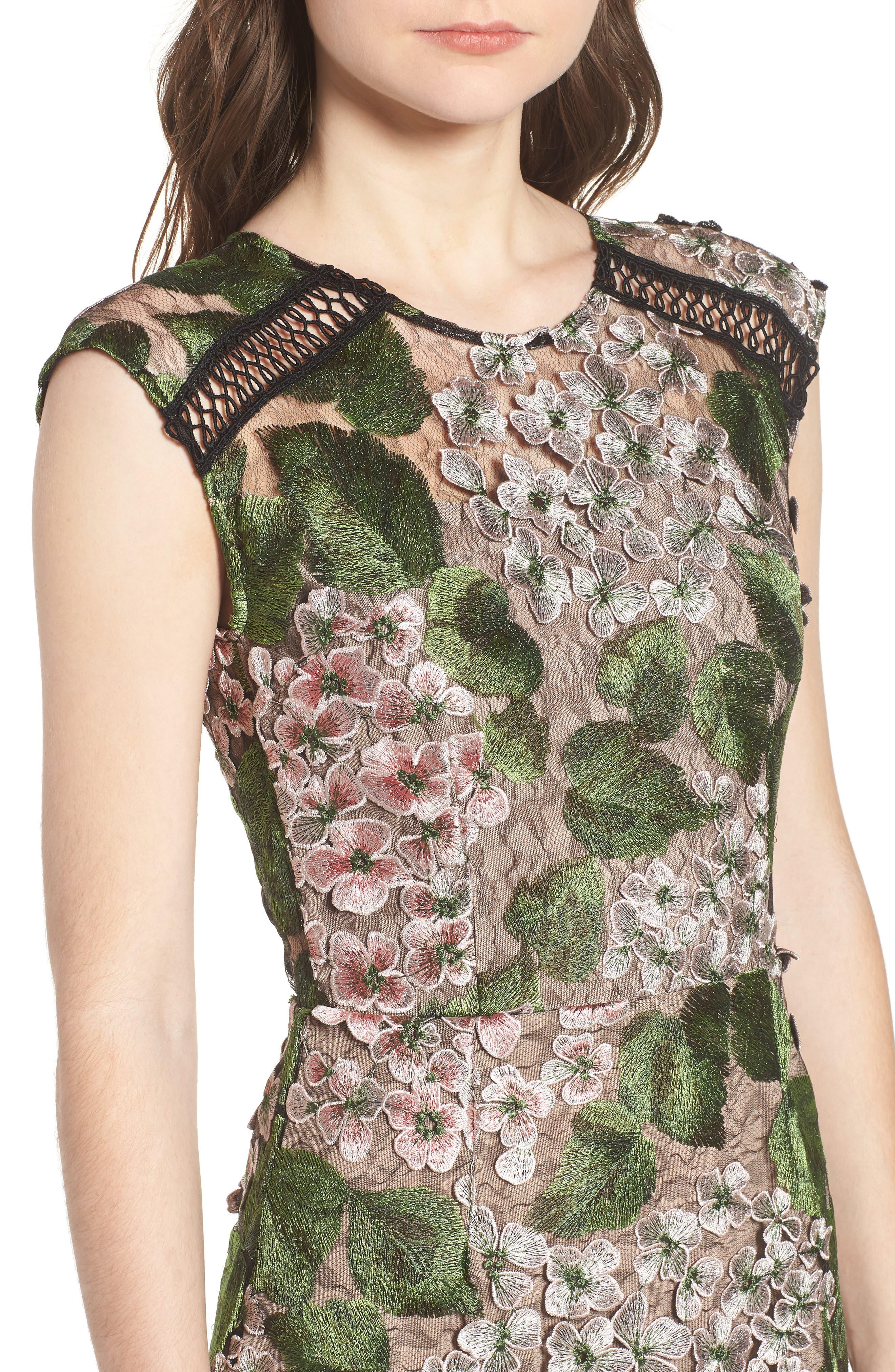 Cherry Hydrangea Lace Dress,                             Alternate thumbnail 4, color,                             Multicolor Pink