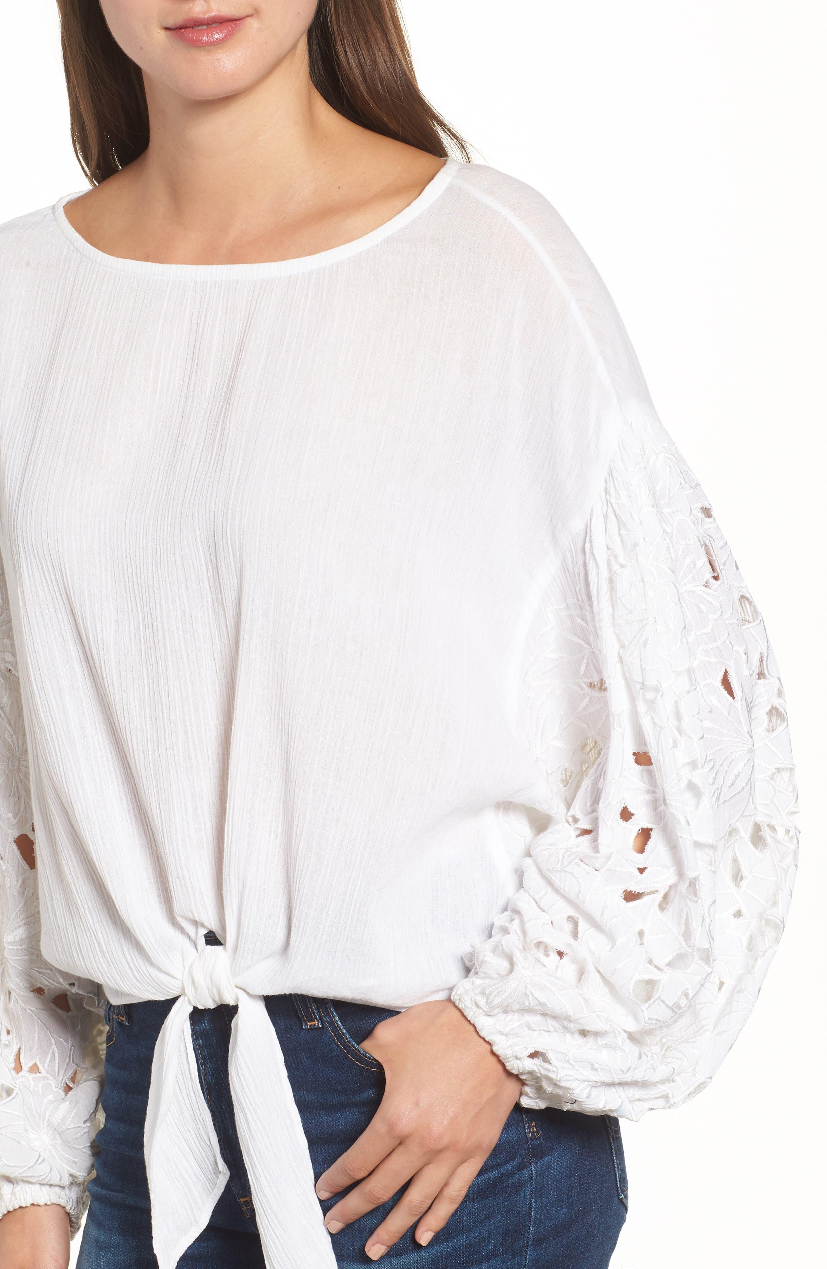 Tie Front Cut Floral Sleeve Cotton Blouse,                             Alternate thumbnail 4, color,                             White