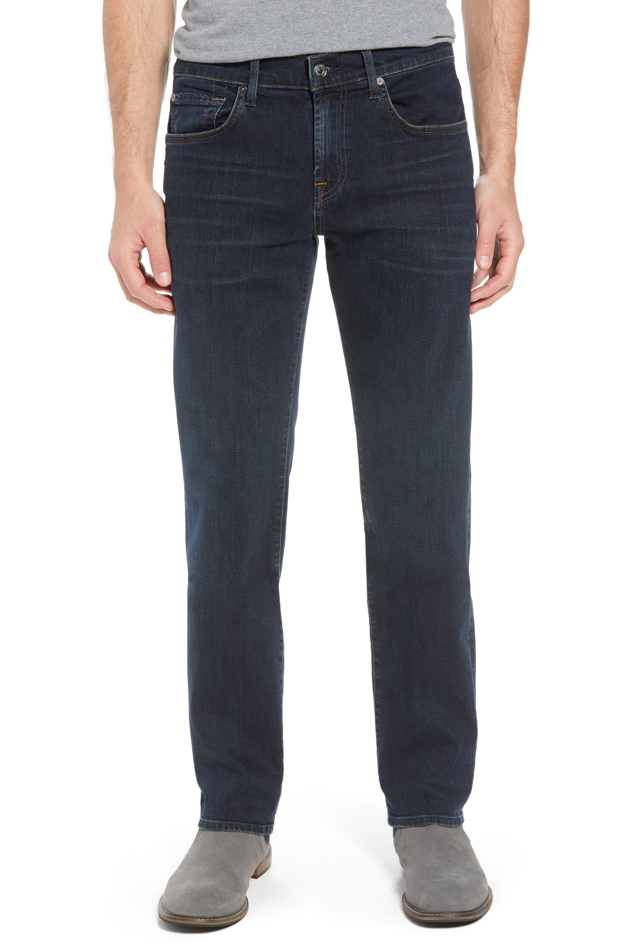 7 For All Mankind® The Straight Slim Straight Leg Jeans (Dark Hollywood)