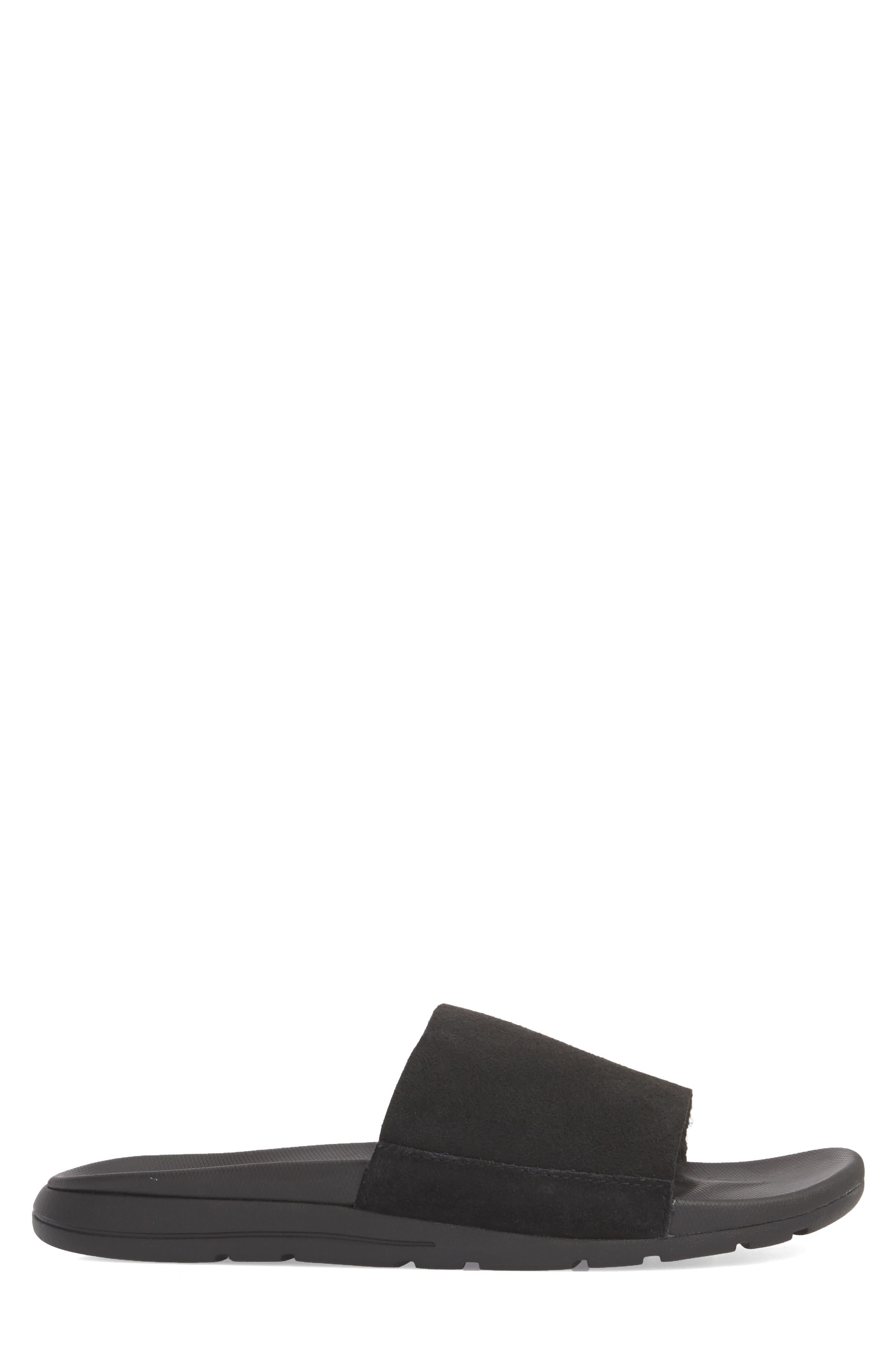 Xavier TF Genuine Shearling Slide Sandal,                             Alternate thumbnail 3, color,                             Black