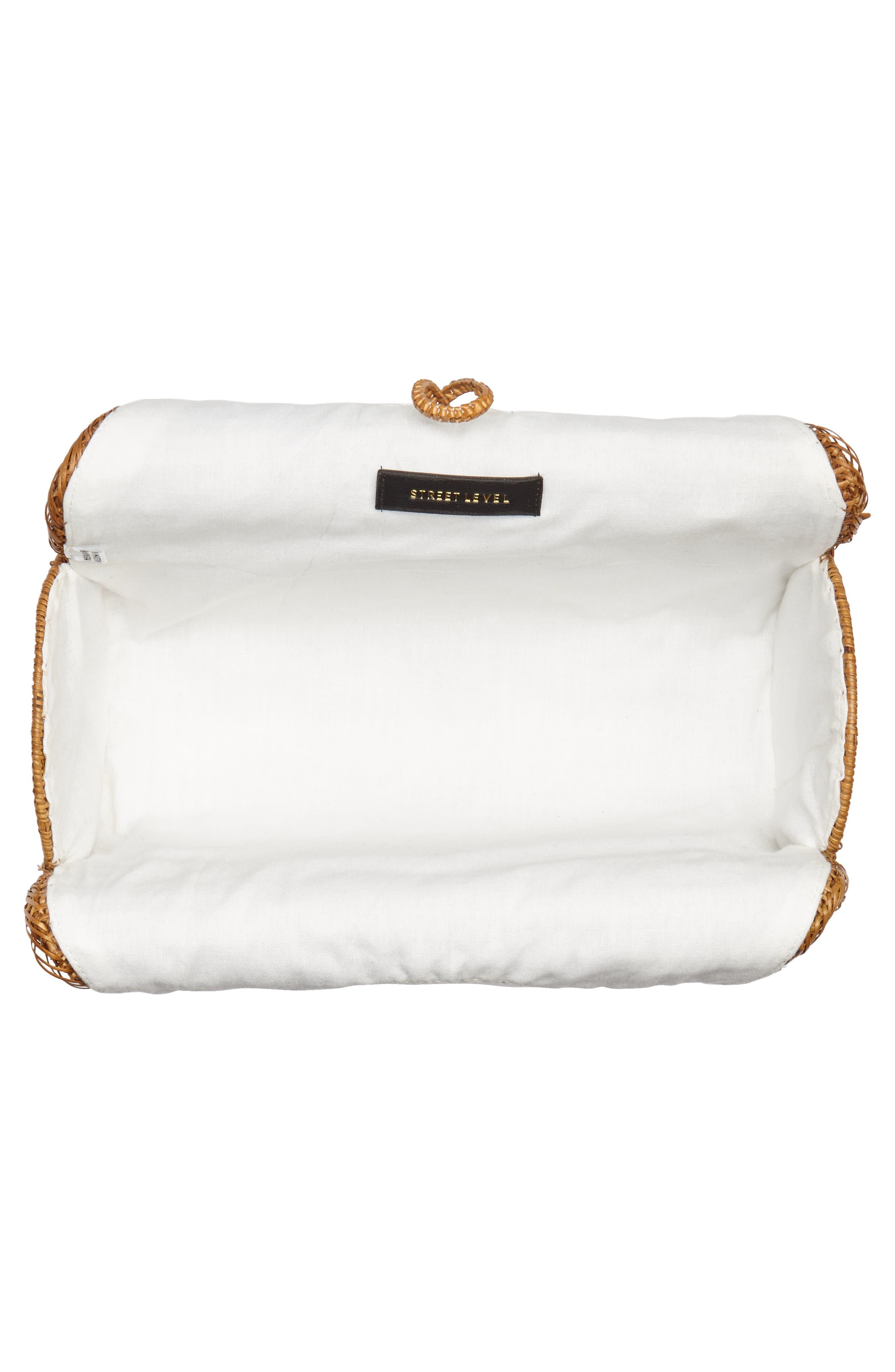 Woven Rattan Handbag,                             Alternate thumbnail 4, color,                             Tan