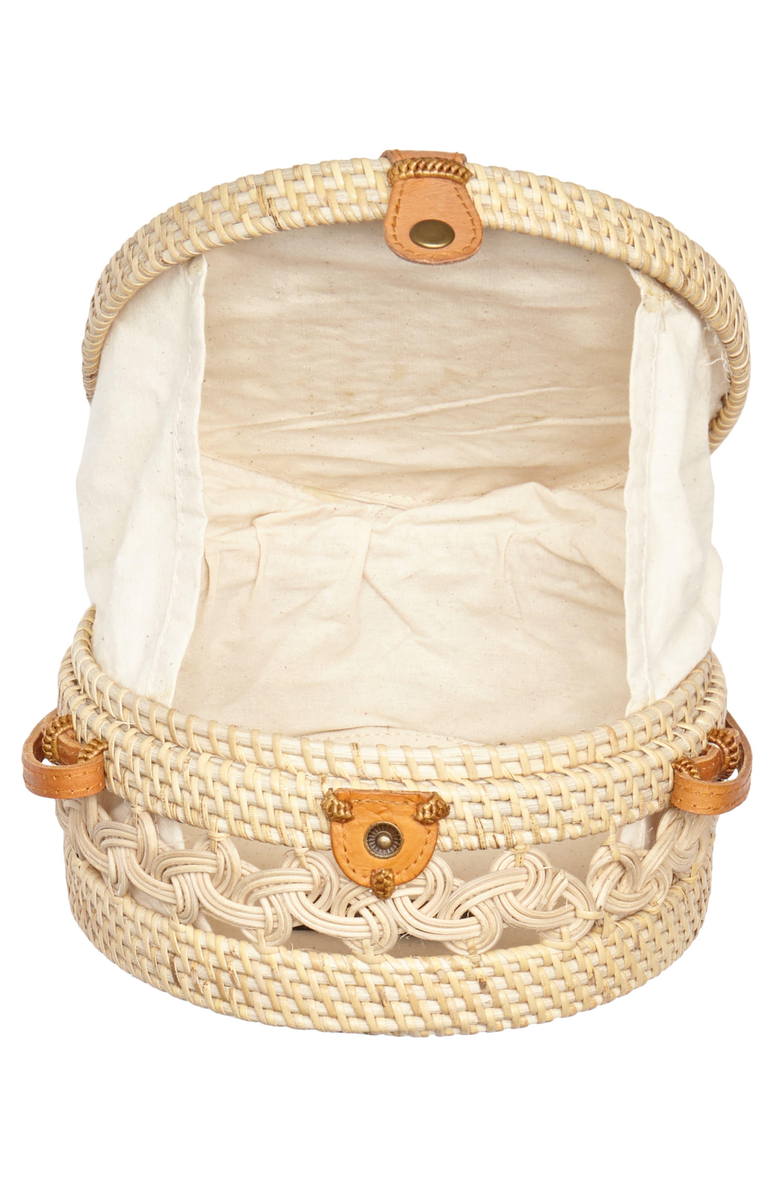 Woven Rattan Circle Crossbody Bag,                             Alternate thumbnail 4, color,                             Lighter Tan/ Natural