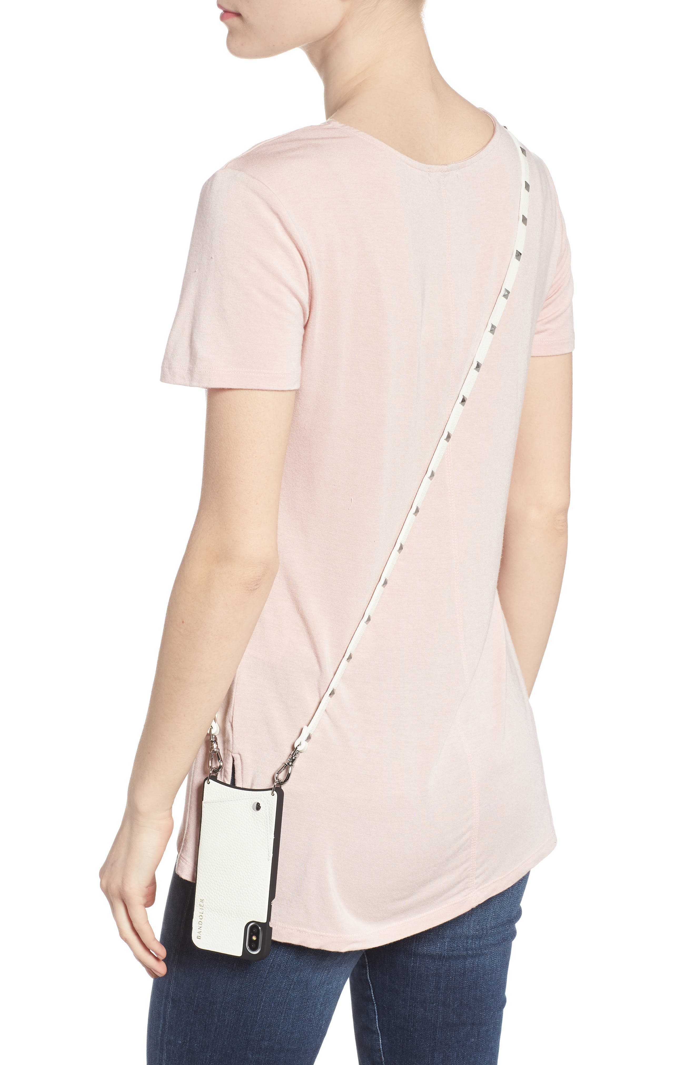 Sarah Leather iPhone X Crossbody Case,                             Alternate thumbnail 2, color,                             White/ Silver