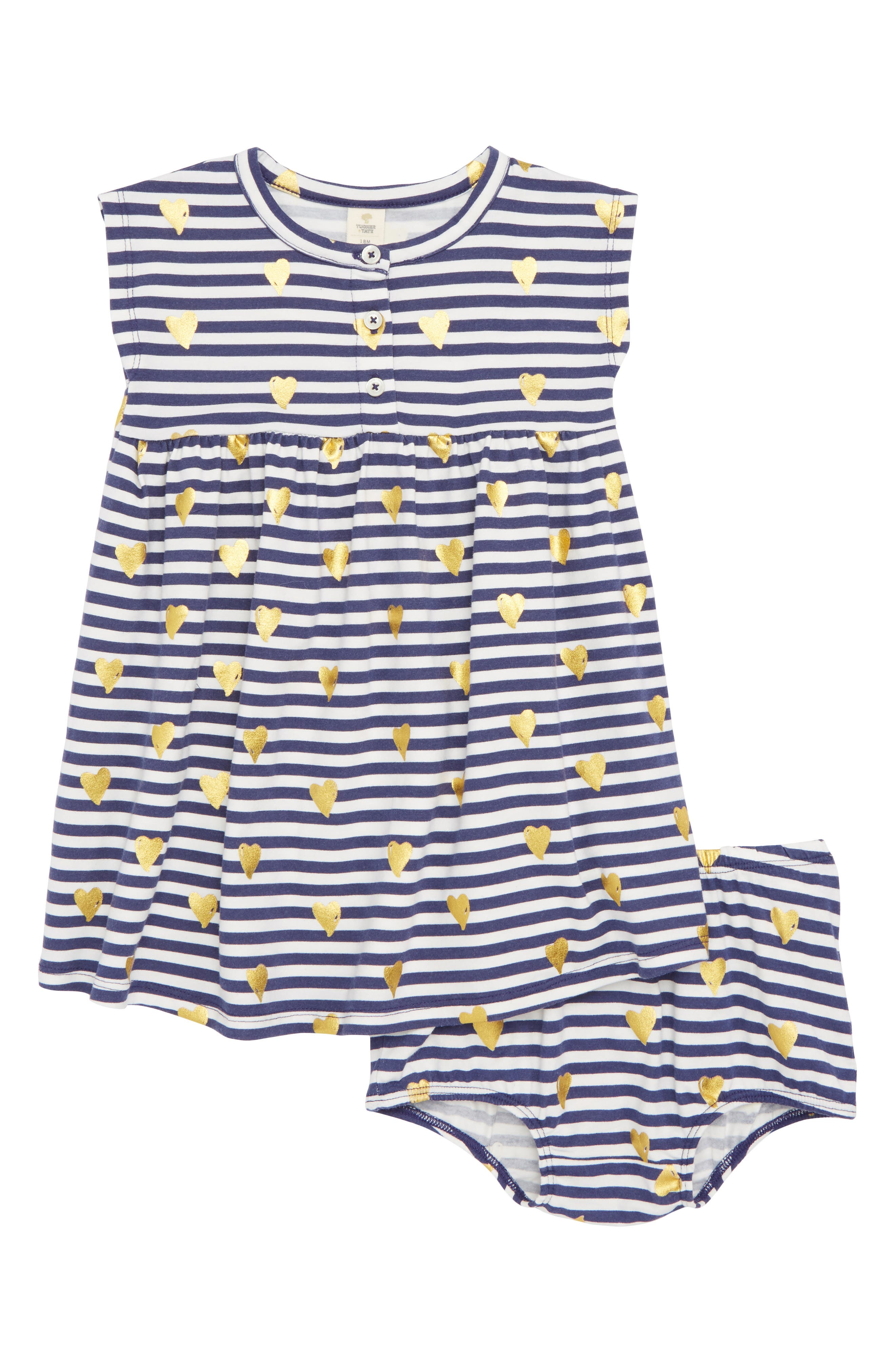 Essential Print Knit Dress,                             Main thumbnail 1, color,                             Navy Ribbon Striped Heart