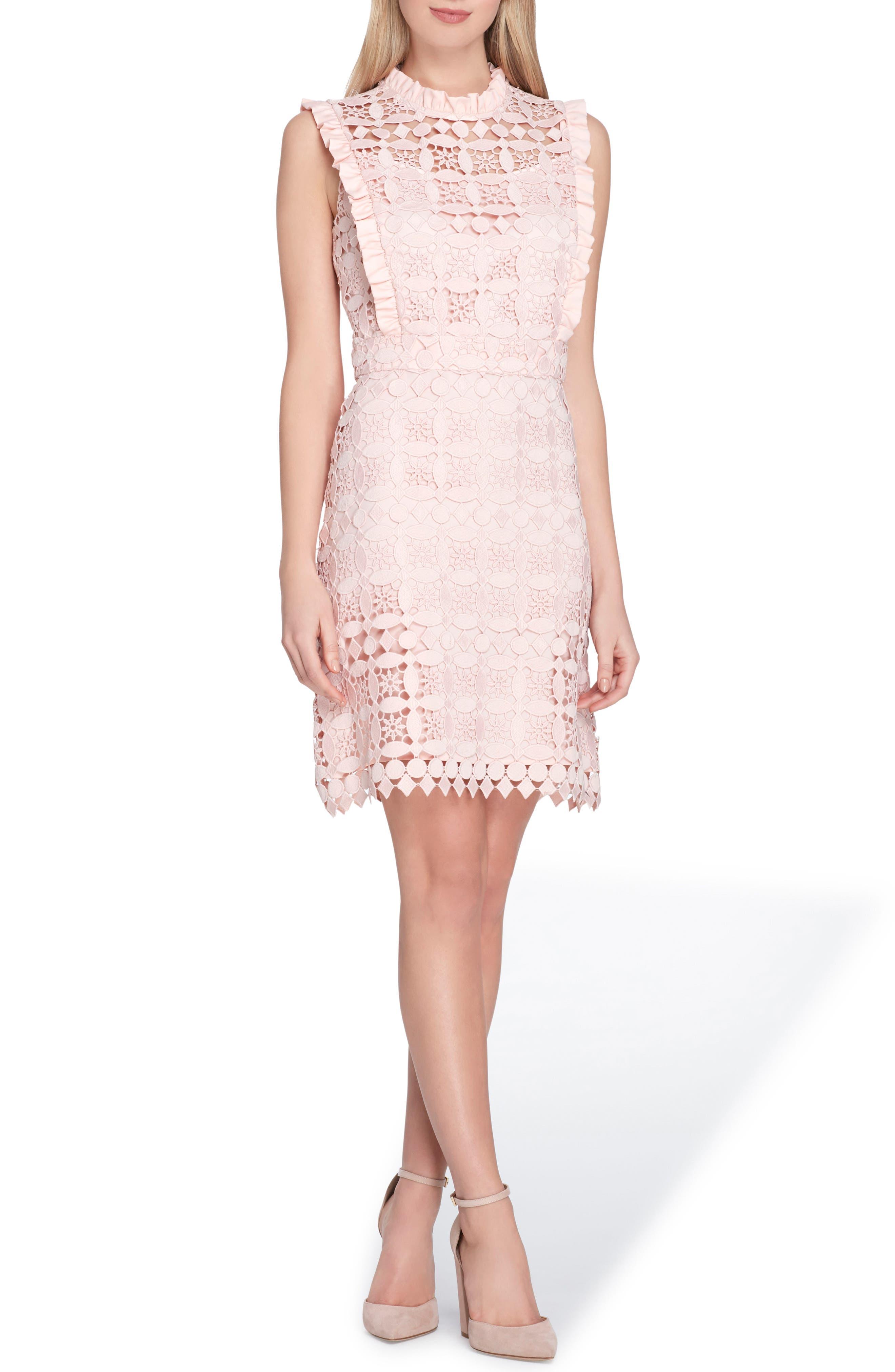 High Neck Lace Sheath Dress,                             Main thumbnail 1, color,                             Blush