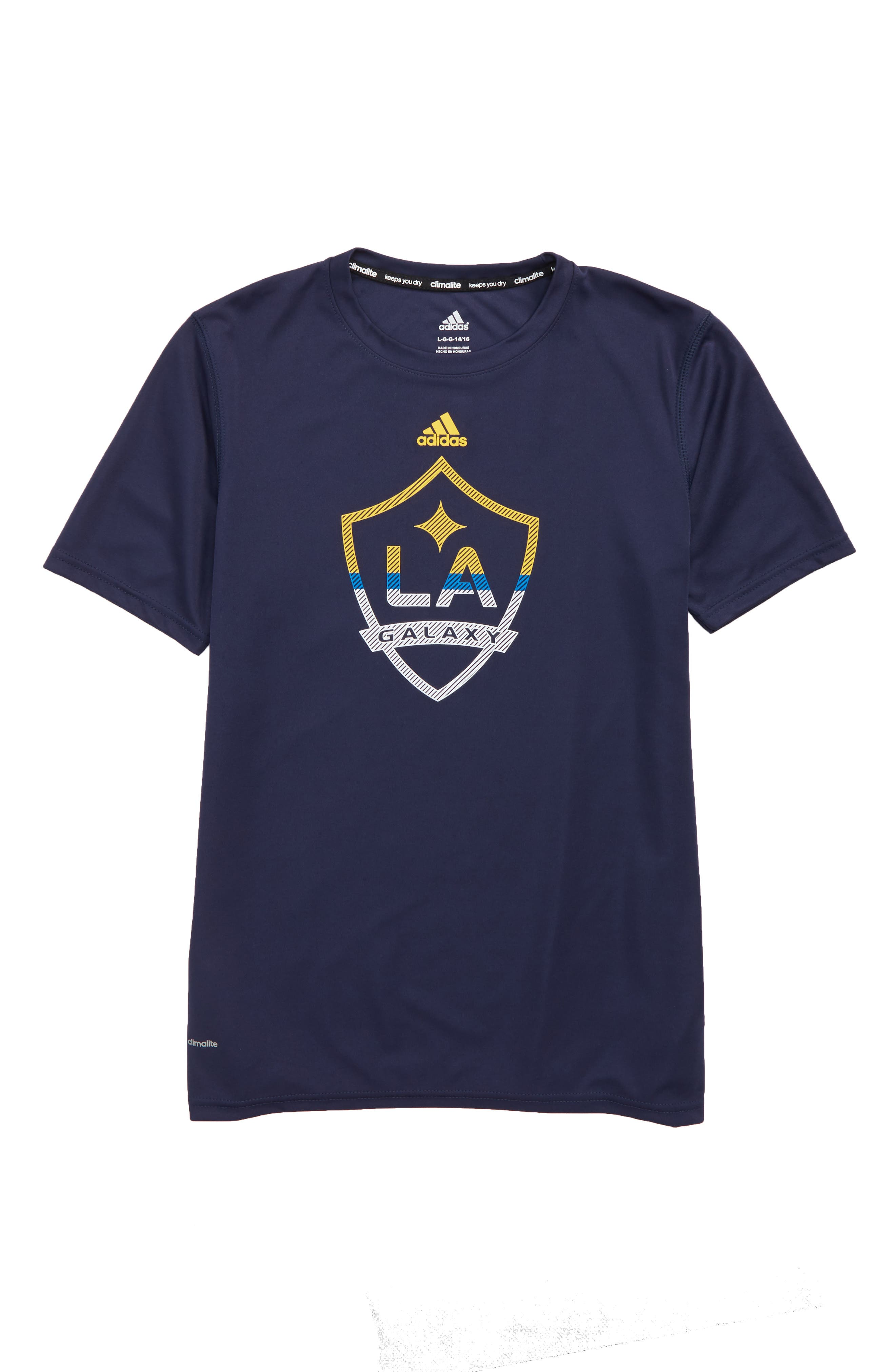 MLS LA Galaxy Climalite<sup>®</sup> T-Shirt,                             Main thumbnail 1, color,                             Dark Navy
