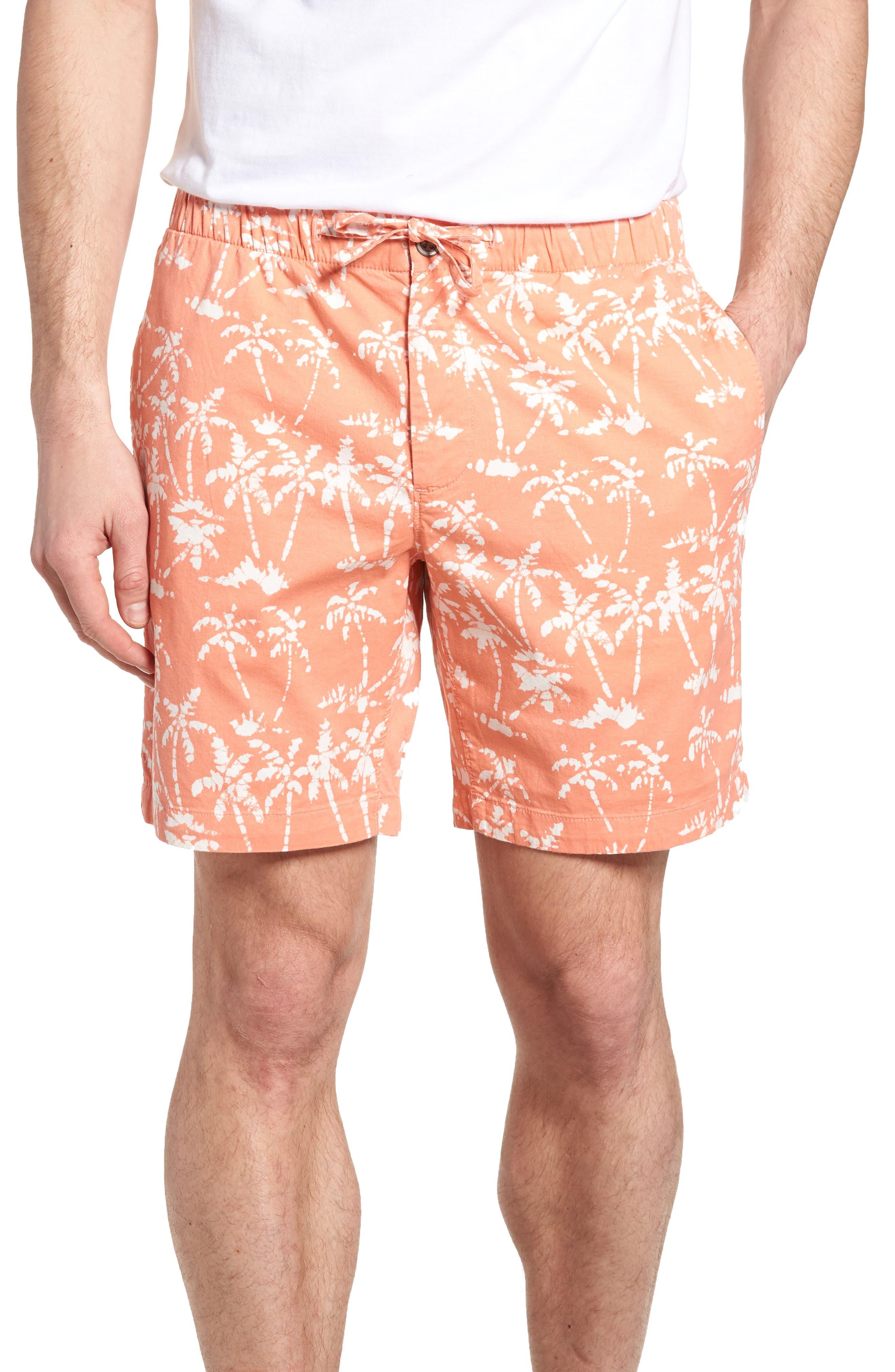 Print Beach Shorts,                             Main thumbnail 1, color,                             Batik Palms Himalayan Salt