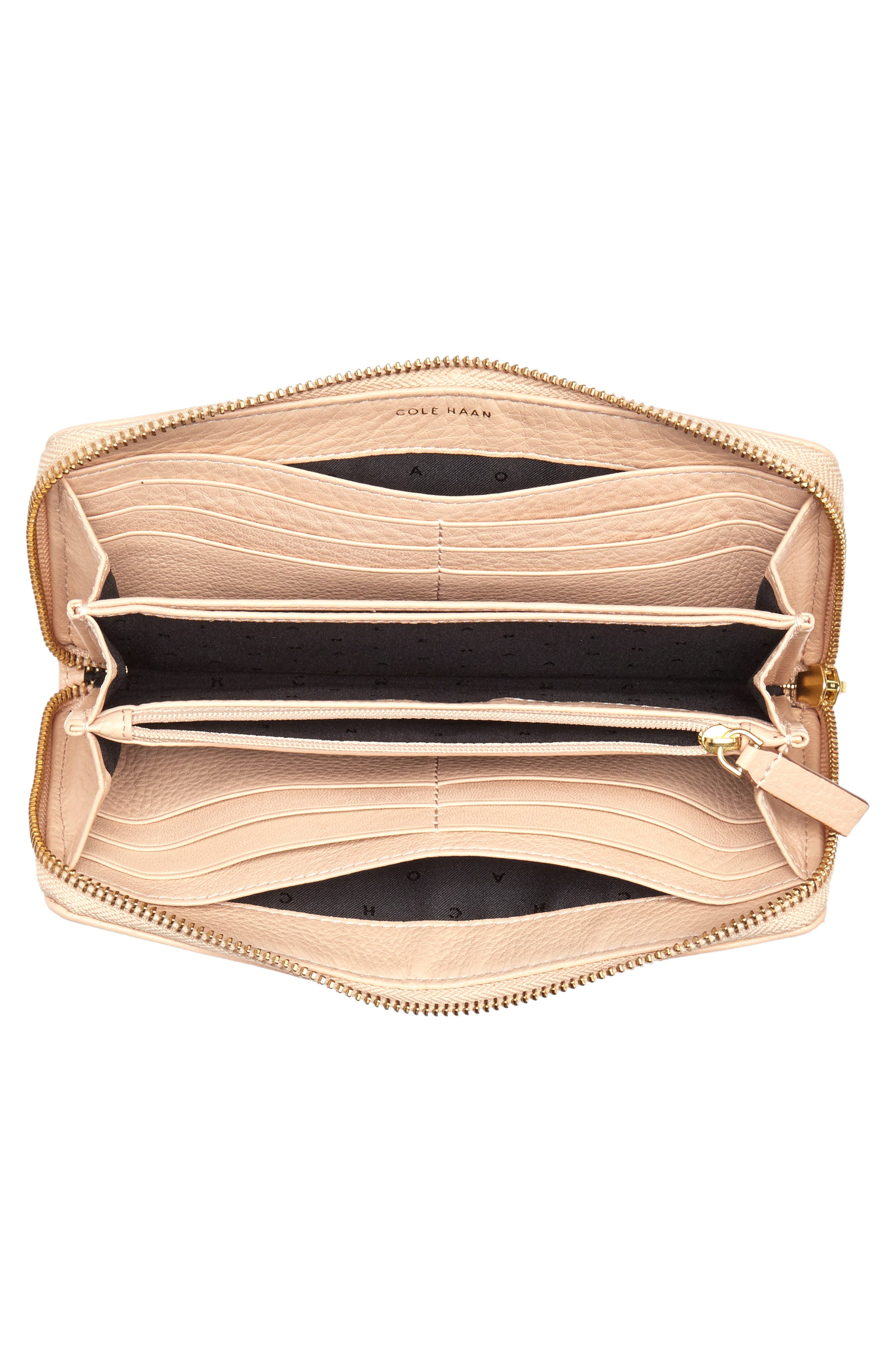 Cassidy Leather RFID Continental Zip Wallet,                             Alternate thumbnail 3, color,                             Nude