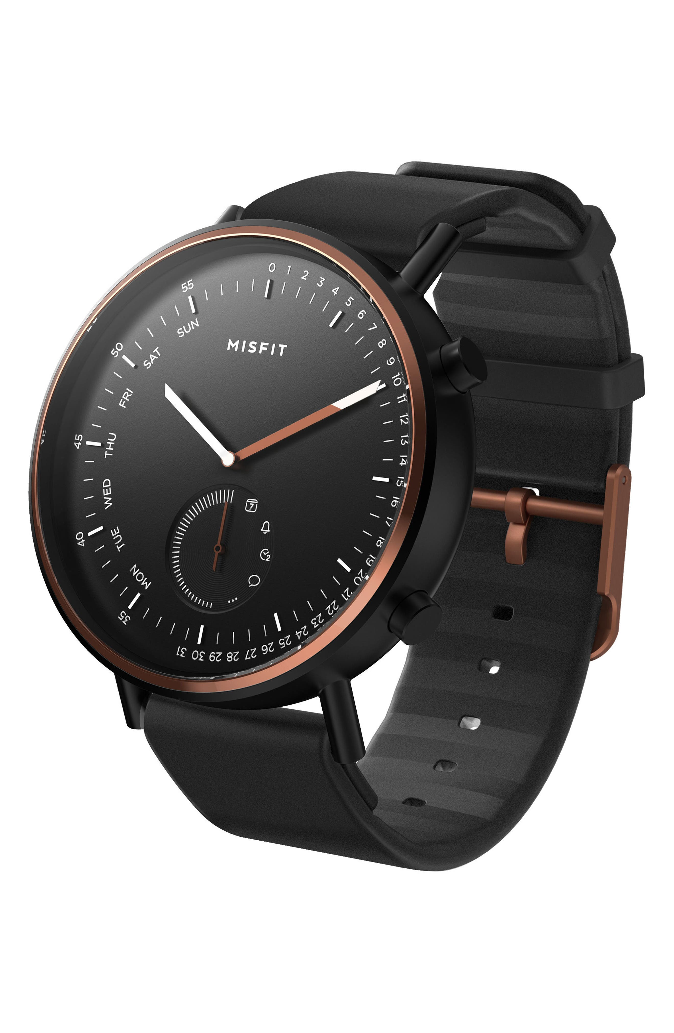 Command Hybrid Silicone Strap Smart Watch, 44mm,                             Main thumbnail 1, color,                             Black/ Rose Gold