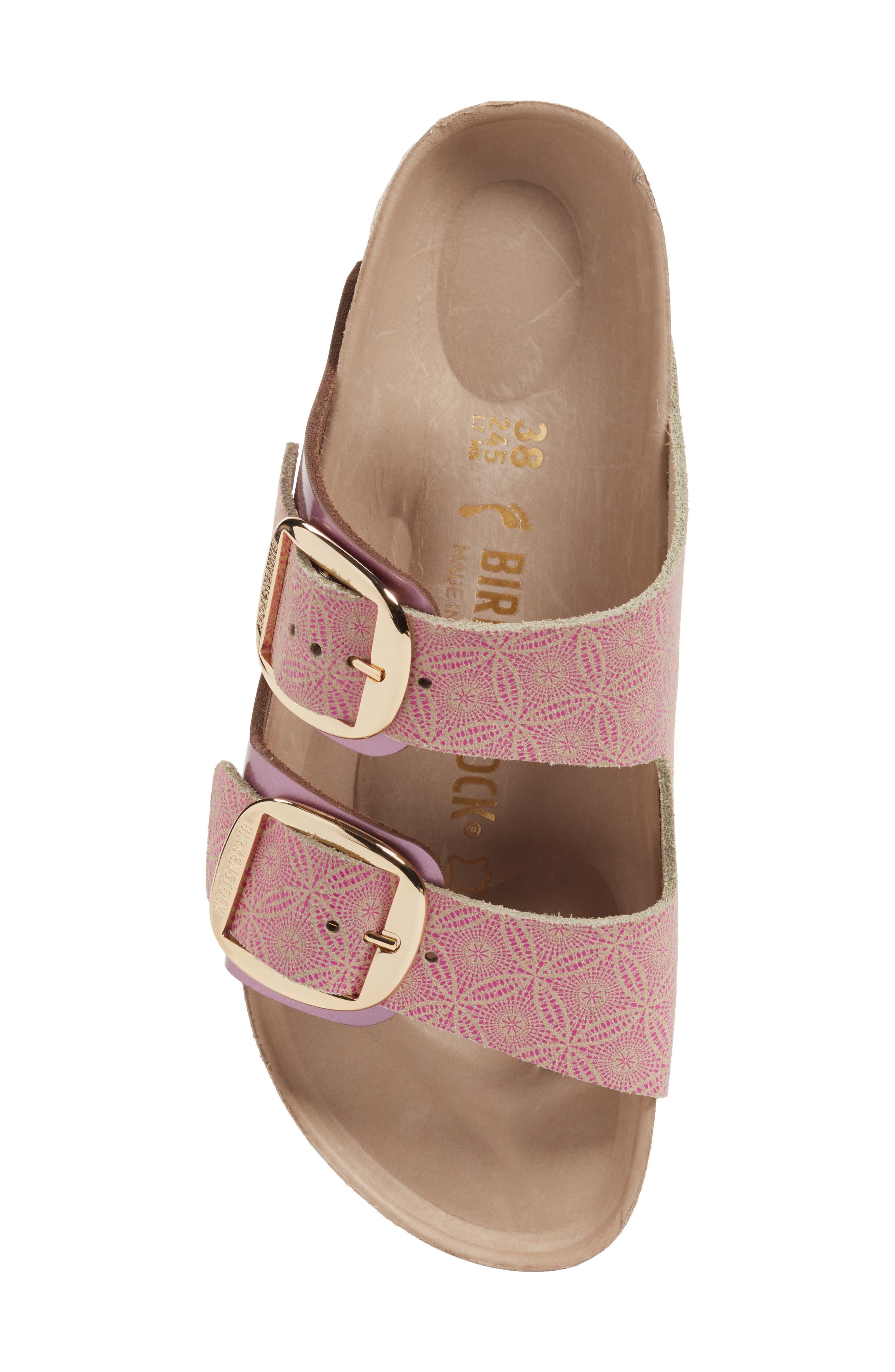Arizona Big Buckle Slide Sandal,                             Alternate thumbnail 5, color,                             Ceramic Rose Leather