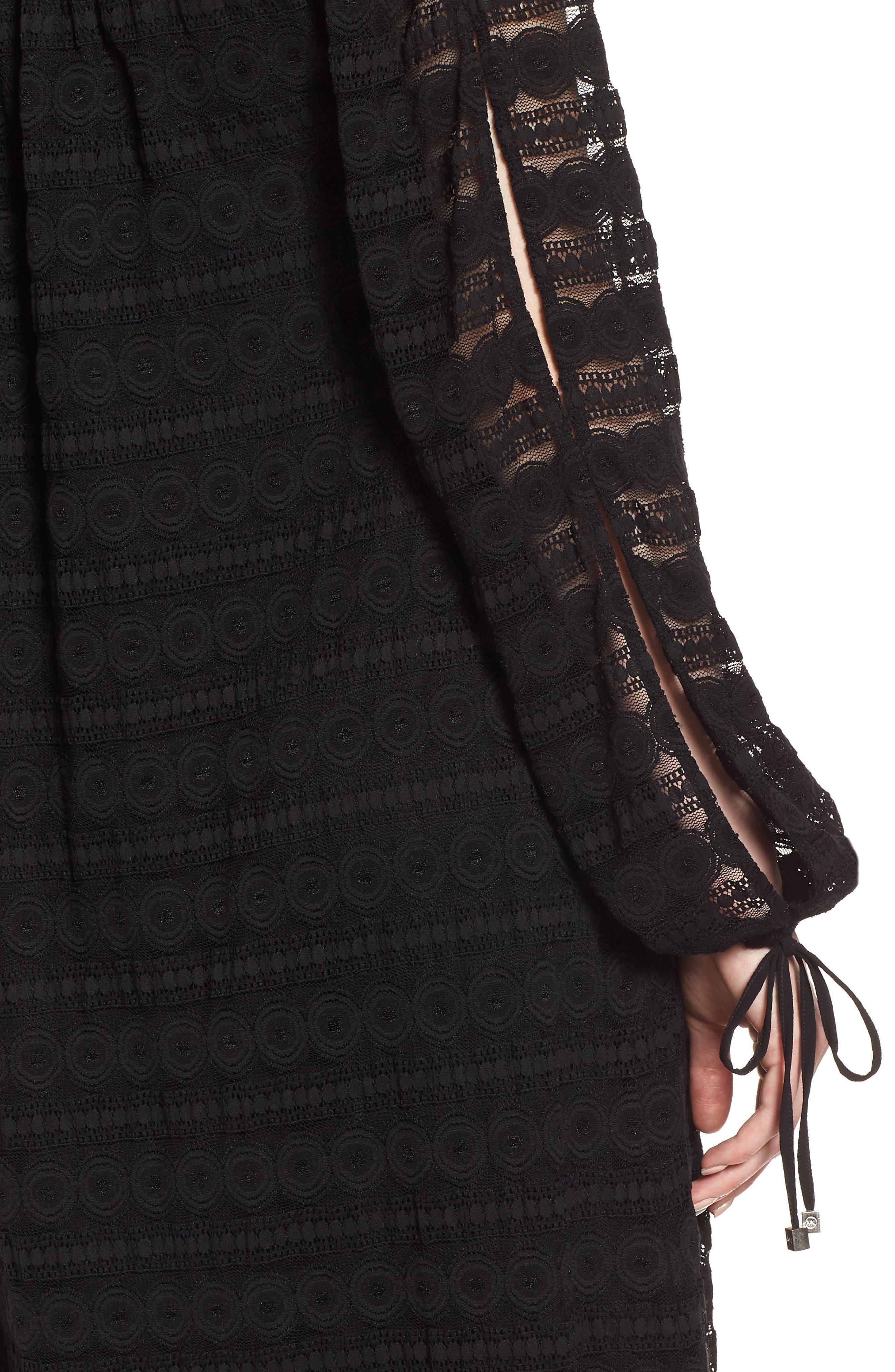 Circle Medallion Lace Off the Shoulder Dress,                             Alternate thumbnail 4, color,                             Black