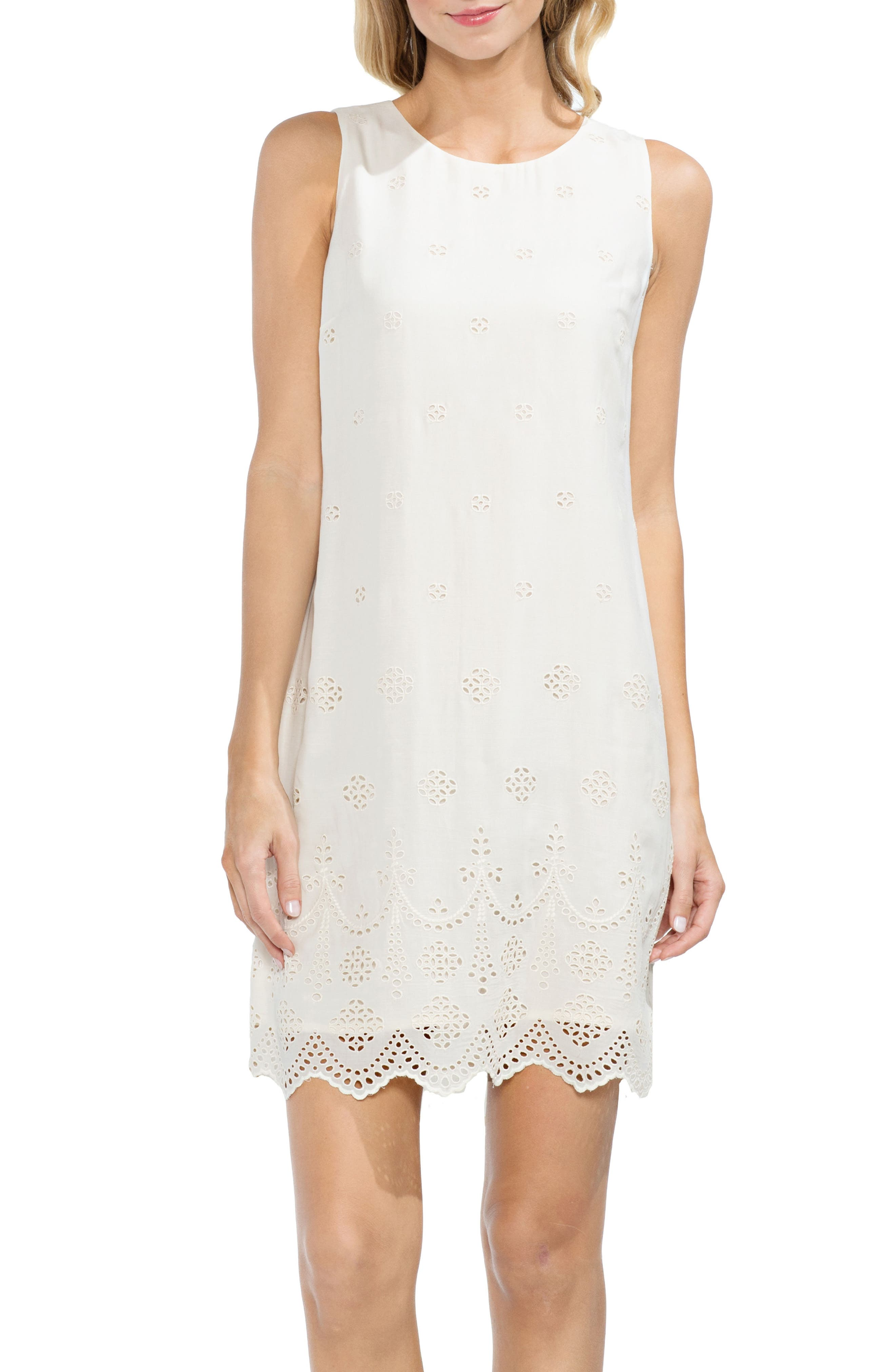 Vince Camuto Scalloped Eyelet Shift Dress