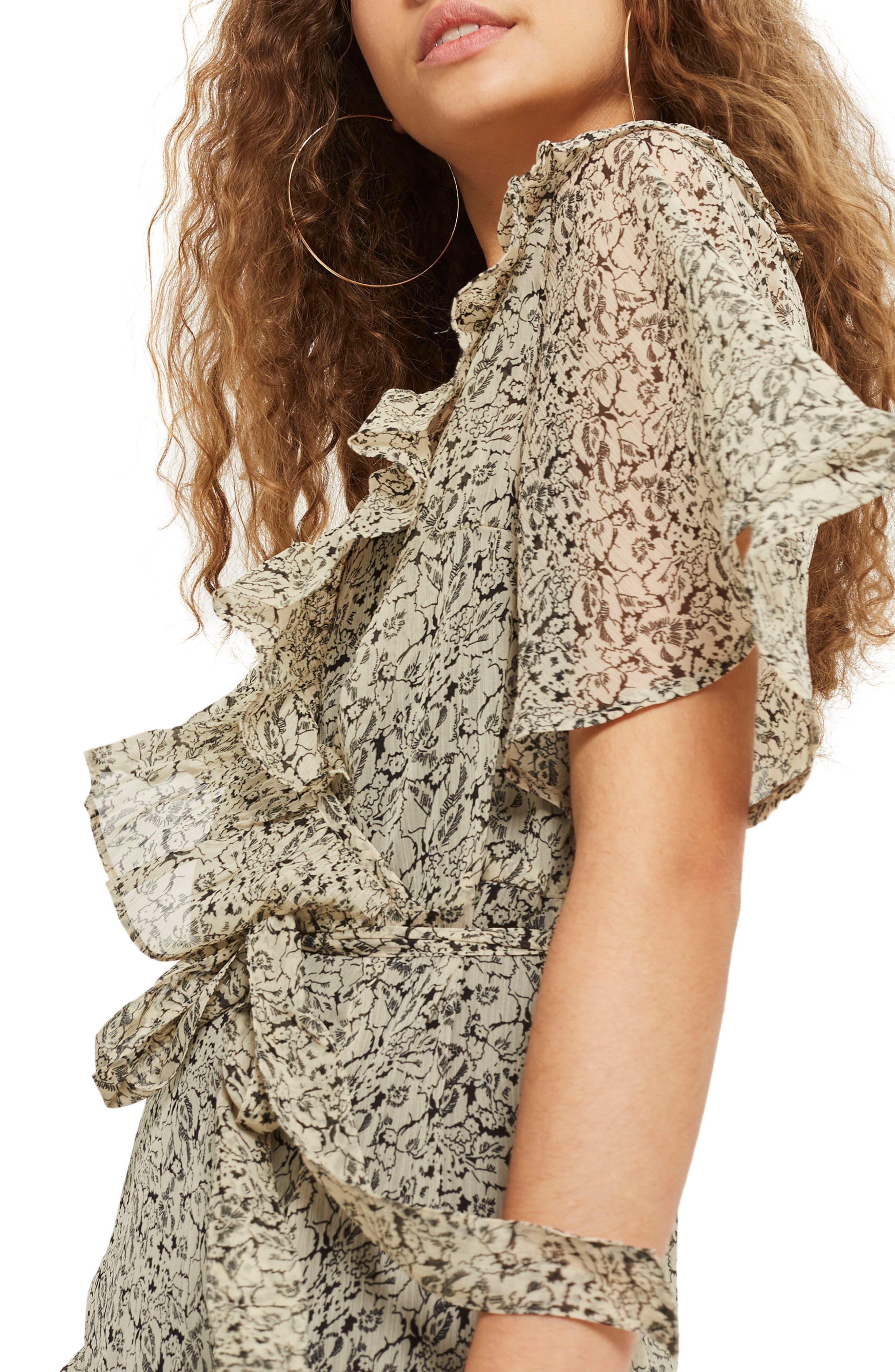 Floral Angel Sleeve Dress,                             Alternate thumbnail 3, color,                             Beige Multi