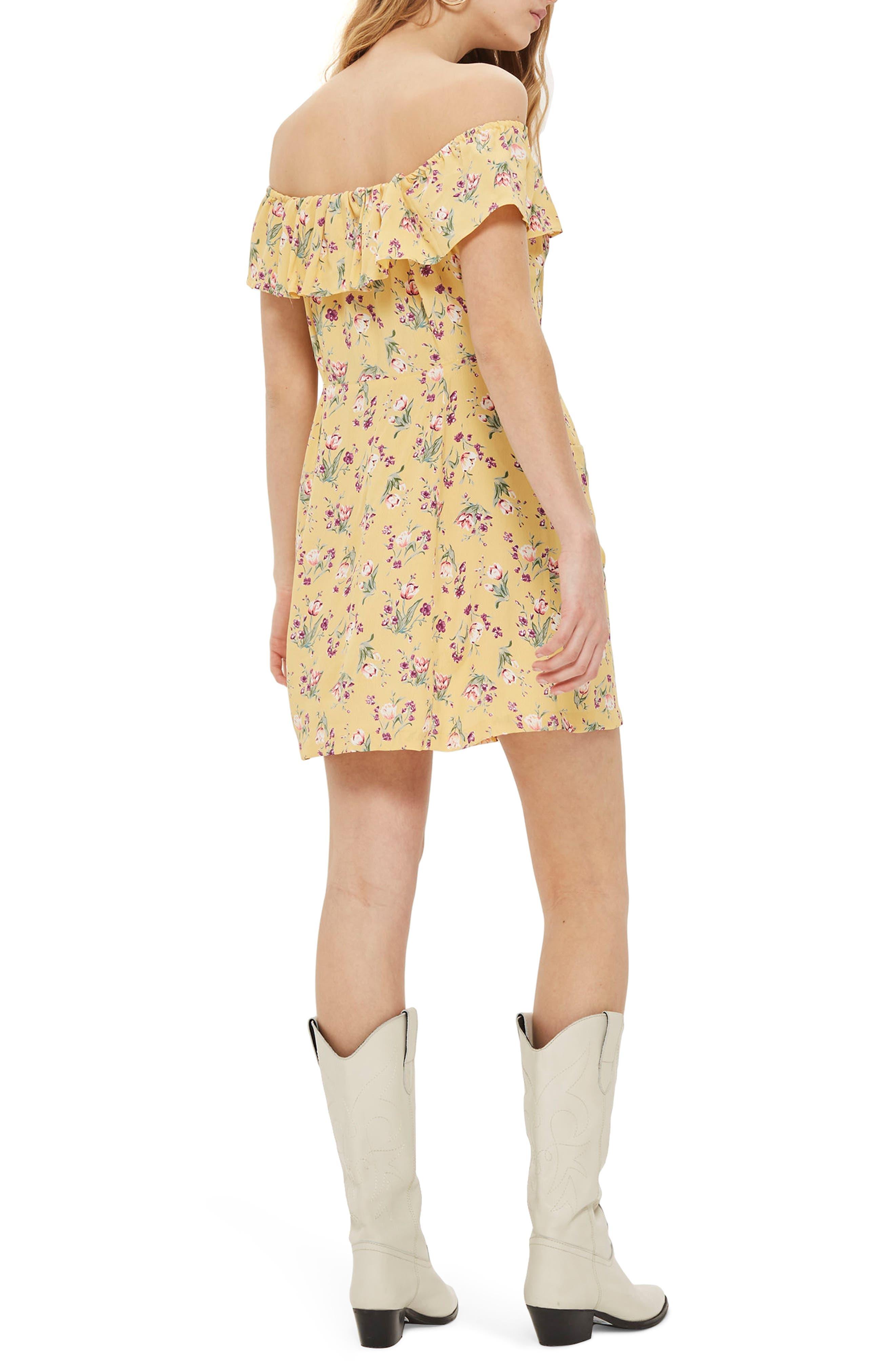 Spring Floral Minidress,                             Alternate thumbnail 2, color,                             Yellow Multi