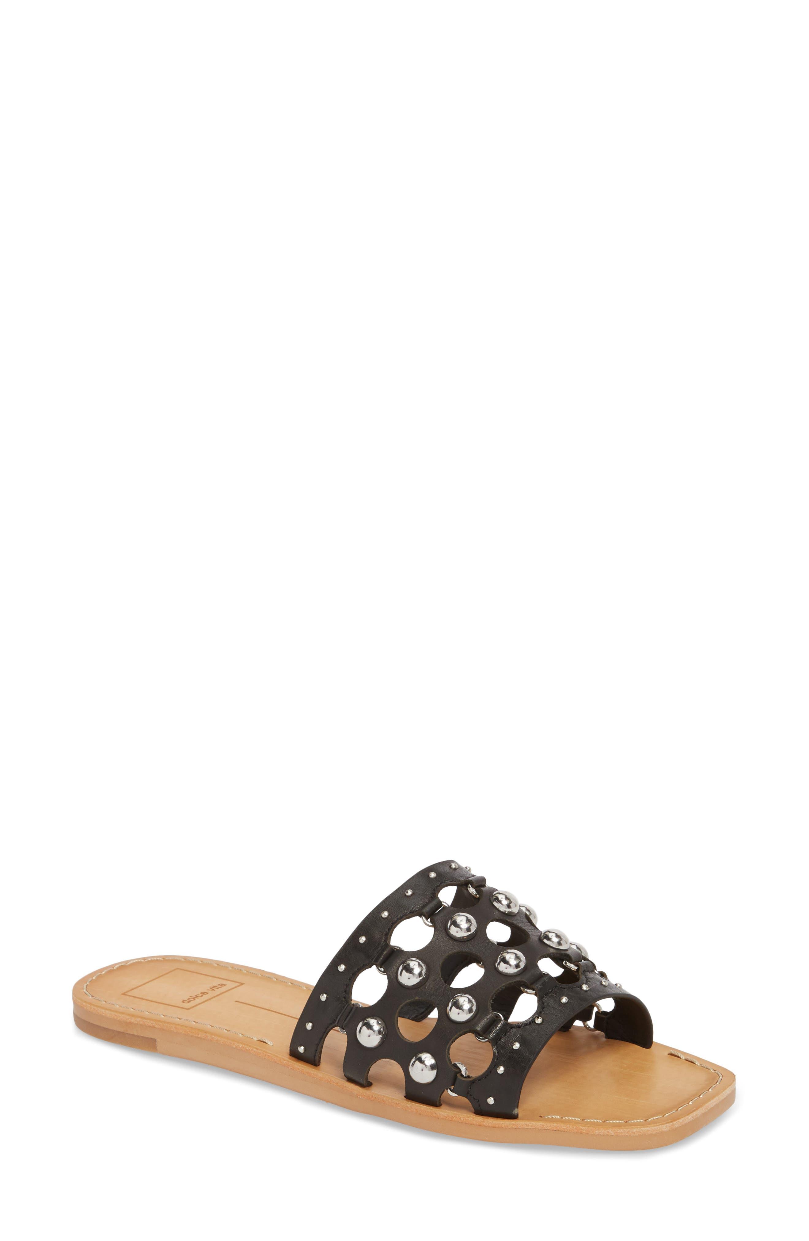 Dolce Vita Celita Perforated Studded Slide Sandal (Women)