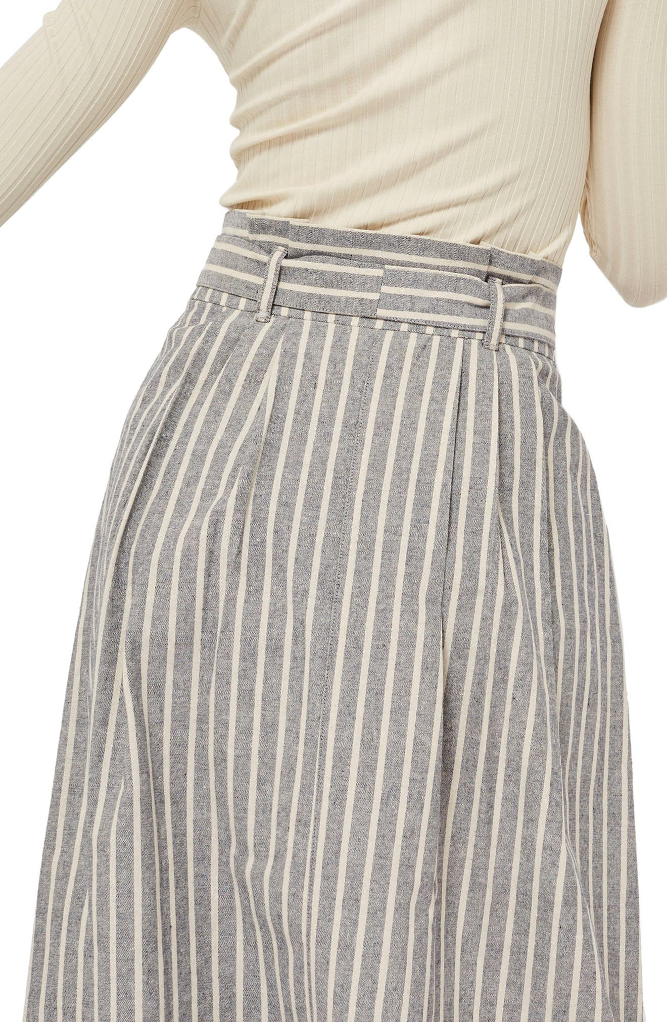 Stripe Tie Waist Midi Skirt,                             Alternate thumbnail 2, color,                             Grey Multi