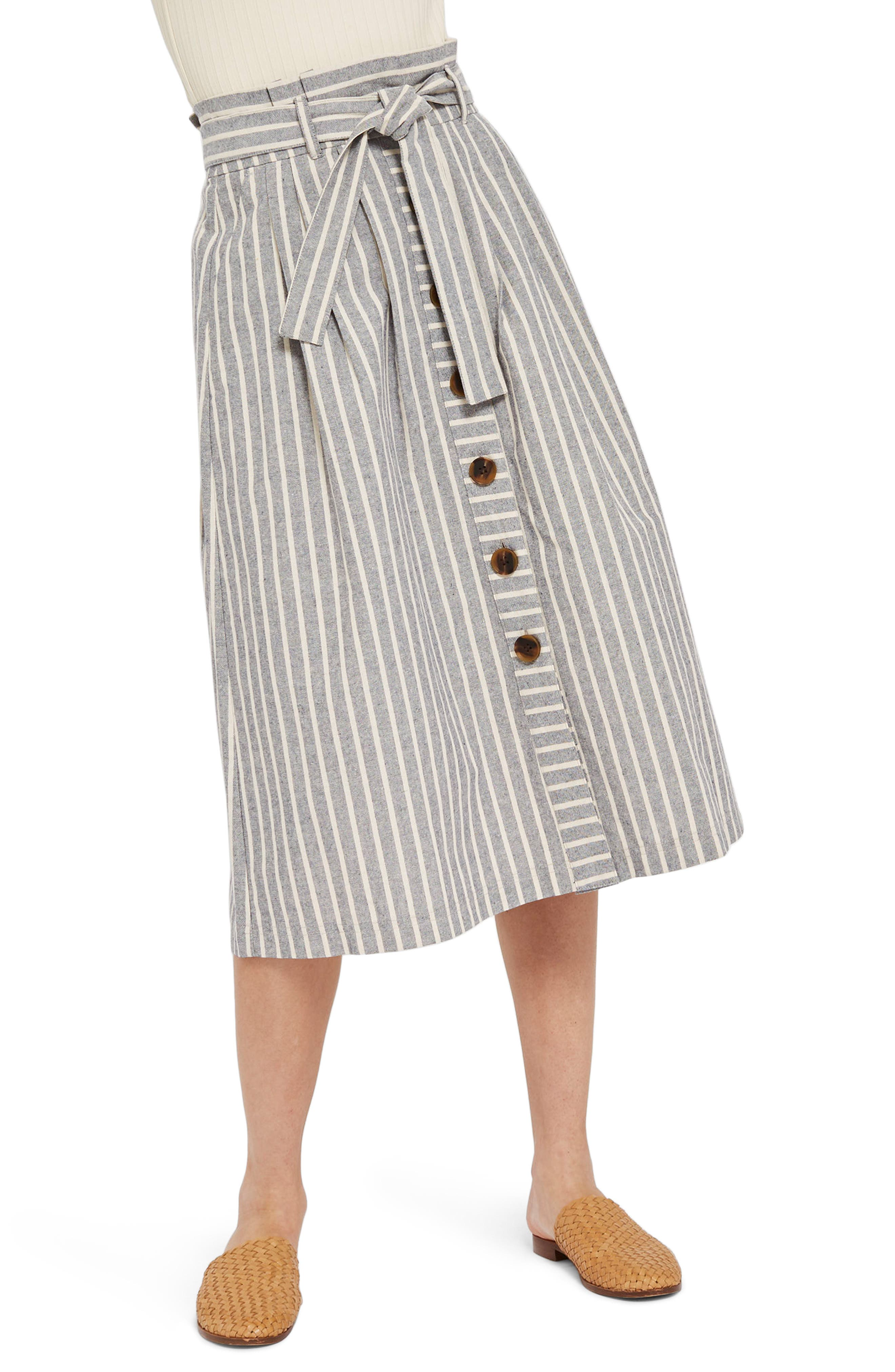 Stripe Tie Waist Midi Skirt,                             Main thumbnail 1, color,                             Grey Multi