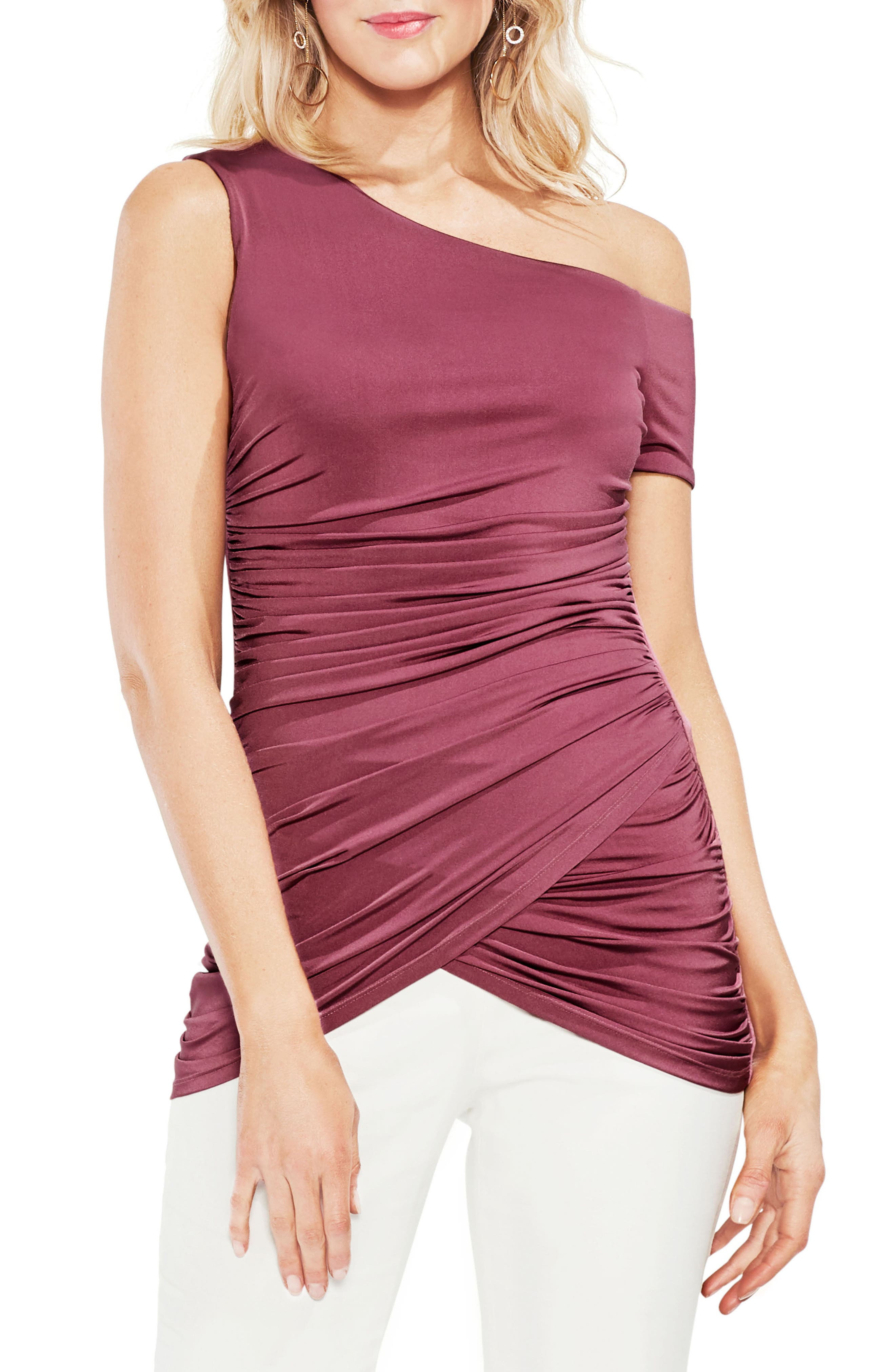 One-Shoulder Ruched Liquid Knit Top,                             Main thumbnail 1, color,                             803-Summer Rose