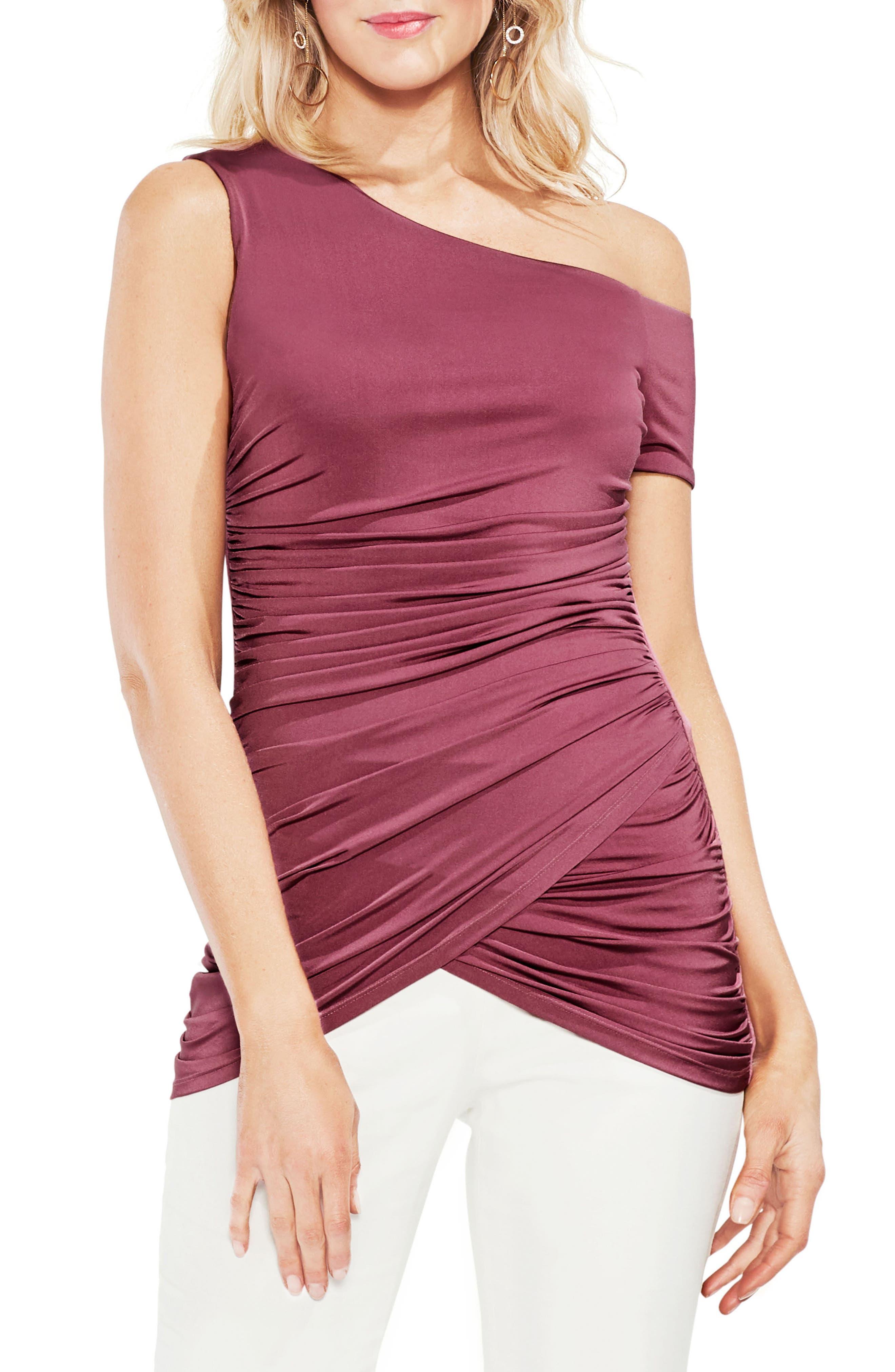 One-Shoulder Ruched Liquid Knit Top,                         Main,                         color, 803-Summer Rose