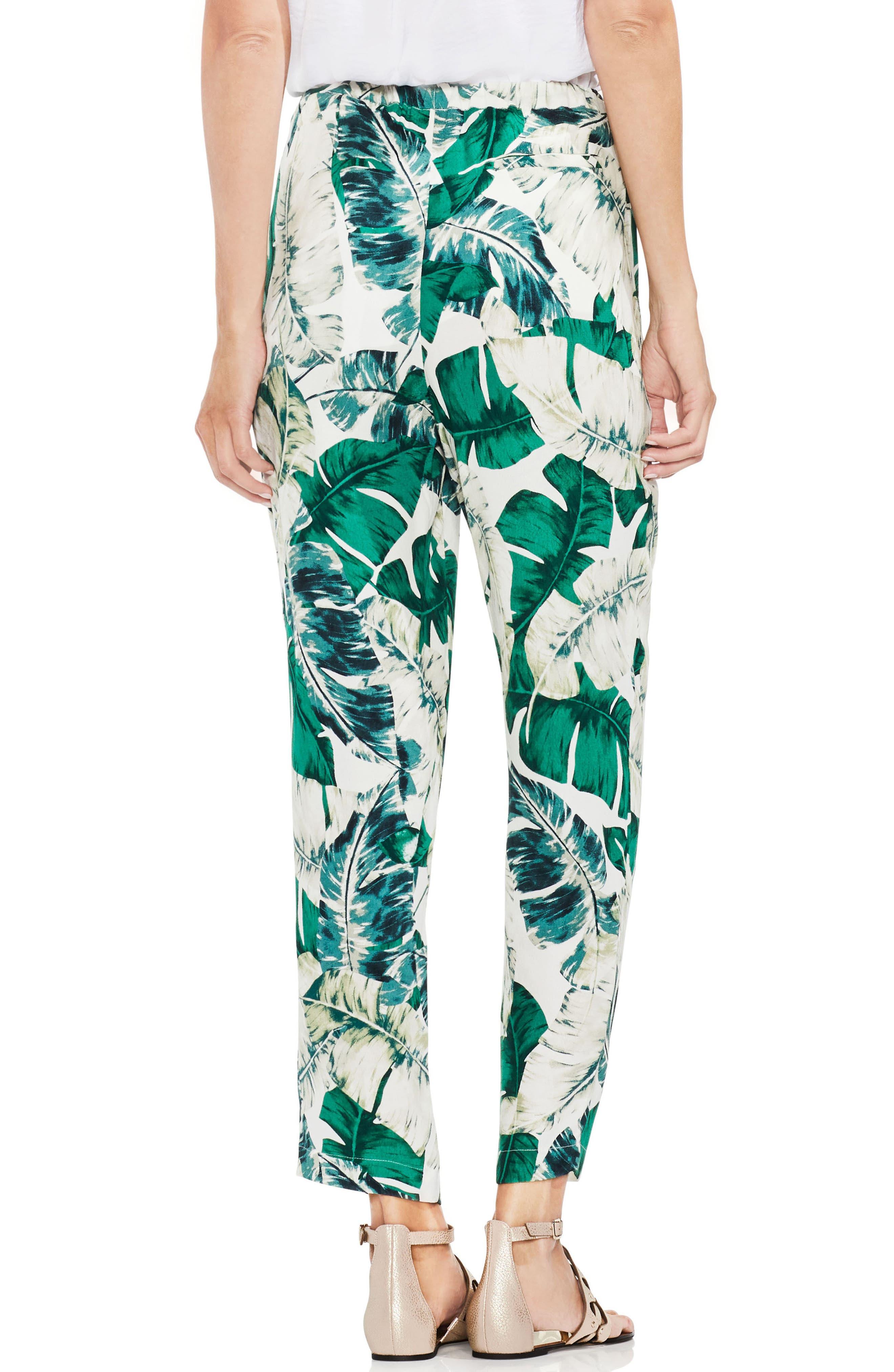 Jungle Palm Print Slim Leg Pants,                             Alternate thumbnail 2, color,                             New Ivory