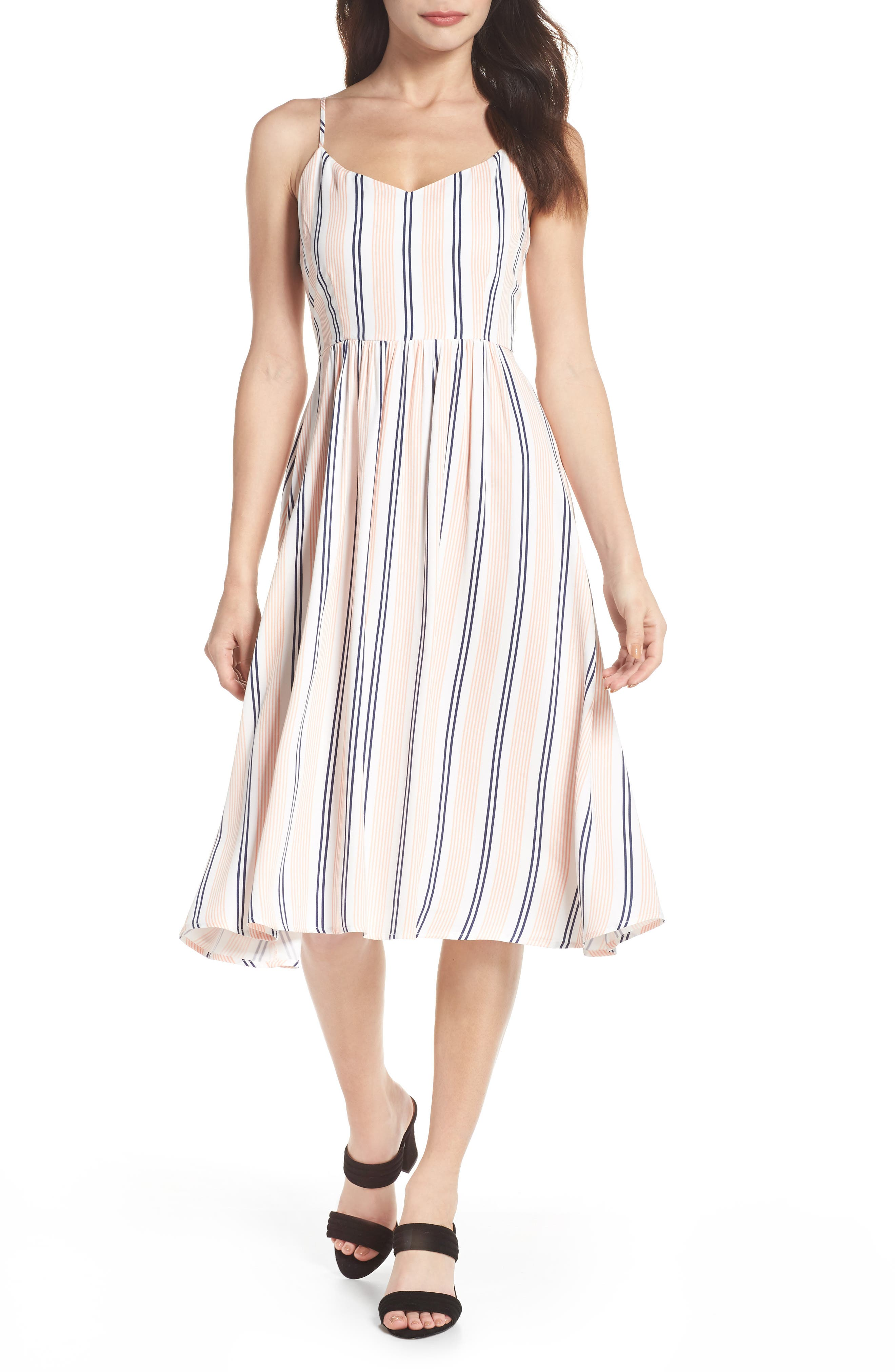 Lilla Stripe Midi Dress,                         Main,                         color, Salmon