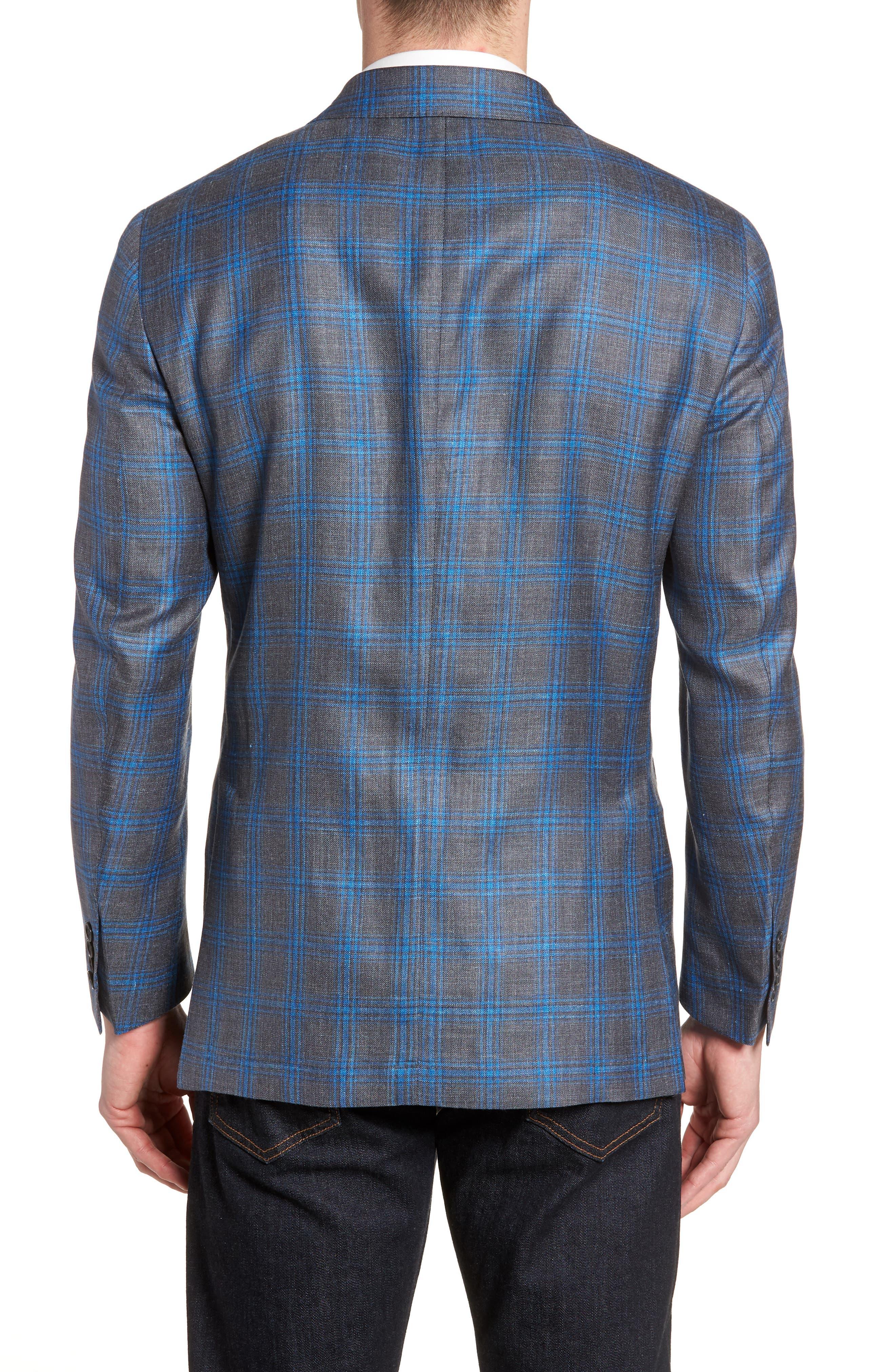 Marina Windowpane Wool & Silk Blend Sport Coat,                             Alternate thumbnail 2, color,                             Onda Blue