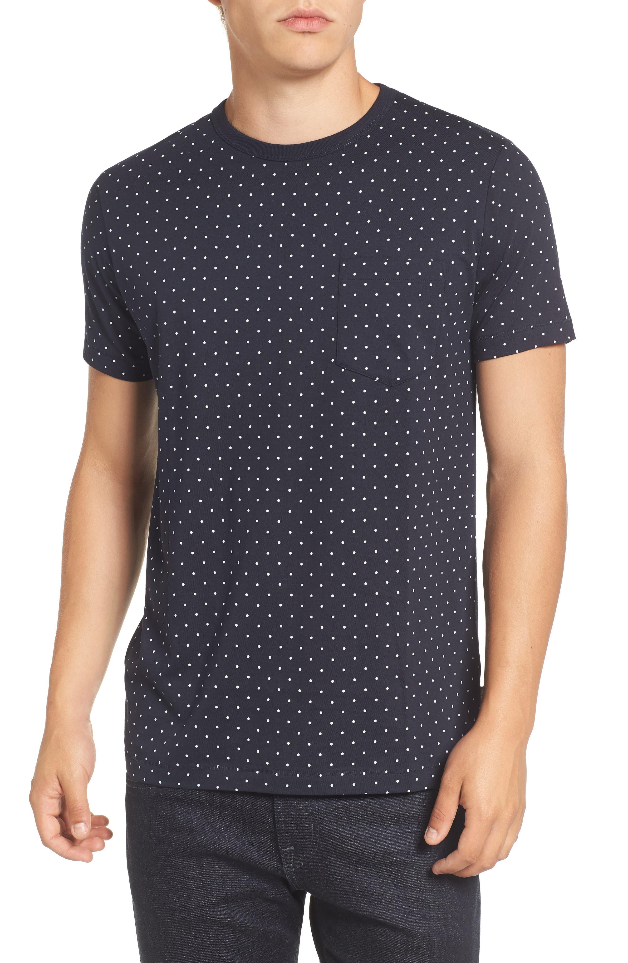 Spot Crewneck T-Shirt,                         Main,                         color, Marine Blue White