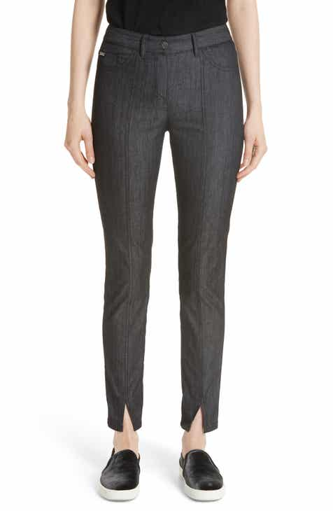 St. John Collection Front Slit Denim Pants (Caviar) by ST. JOHN COLLECTION
