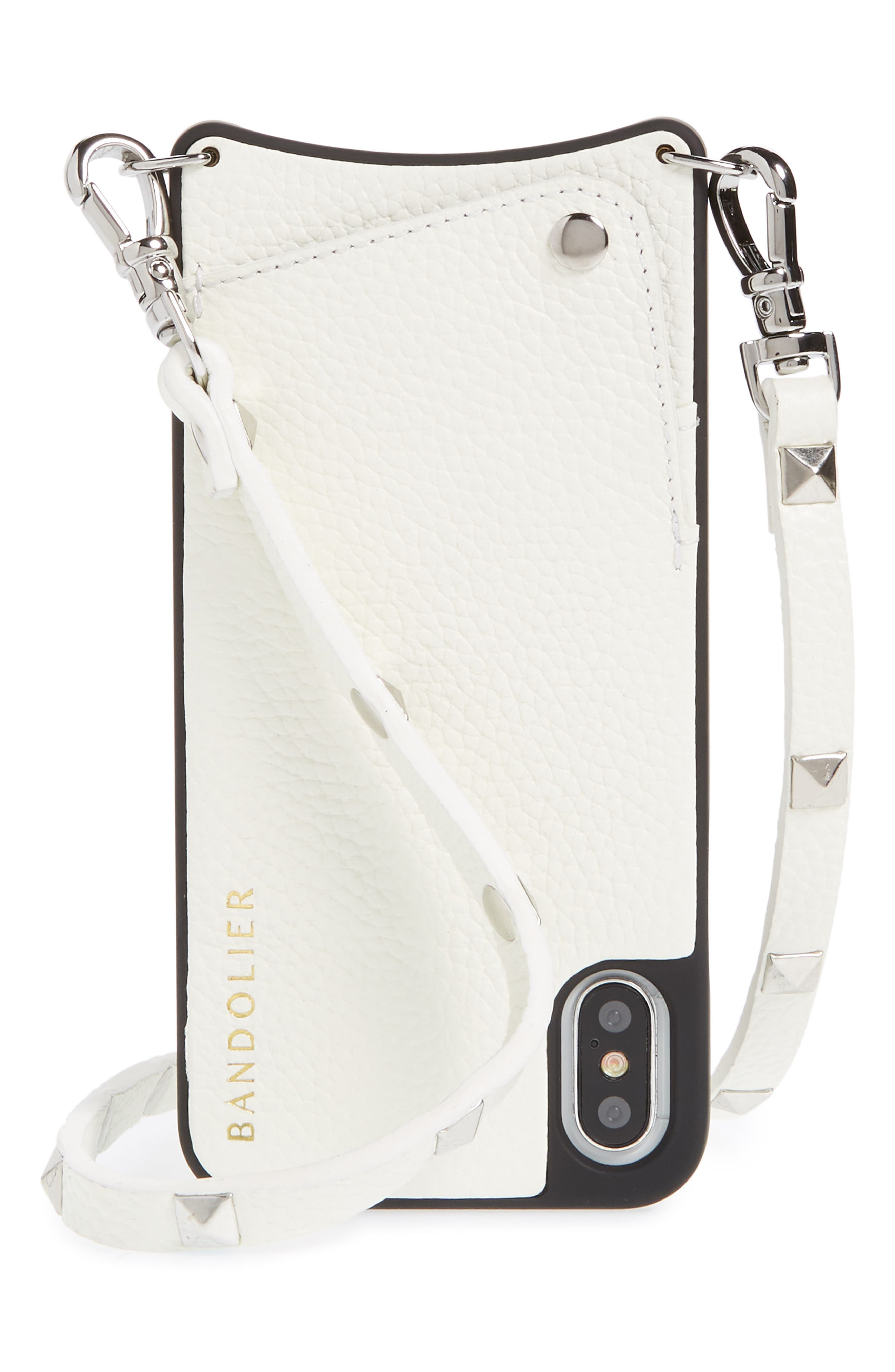 Sarah Leather iPhone X Crossbody Case,                             Main thumbnail 1, color,                             White/ Silver