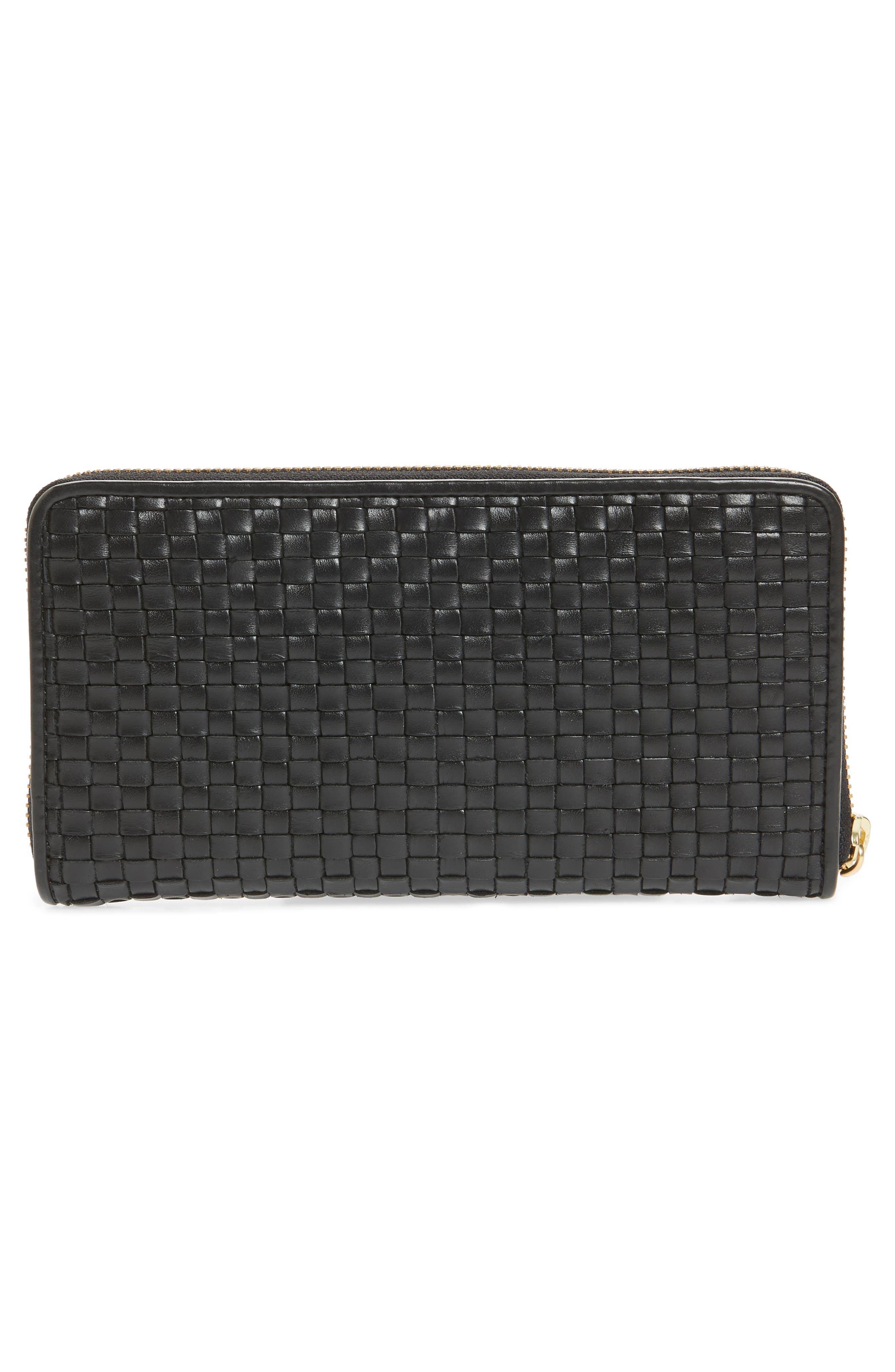 Zoe Woven RFID Leather Continental Zip Wallet,                             Alternate thumbnail 5, color,                             Black