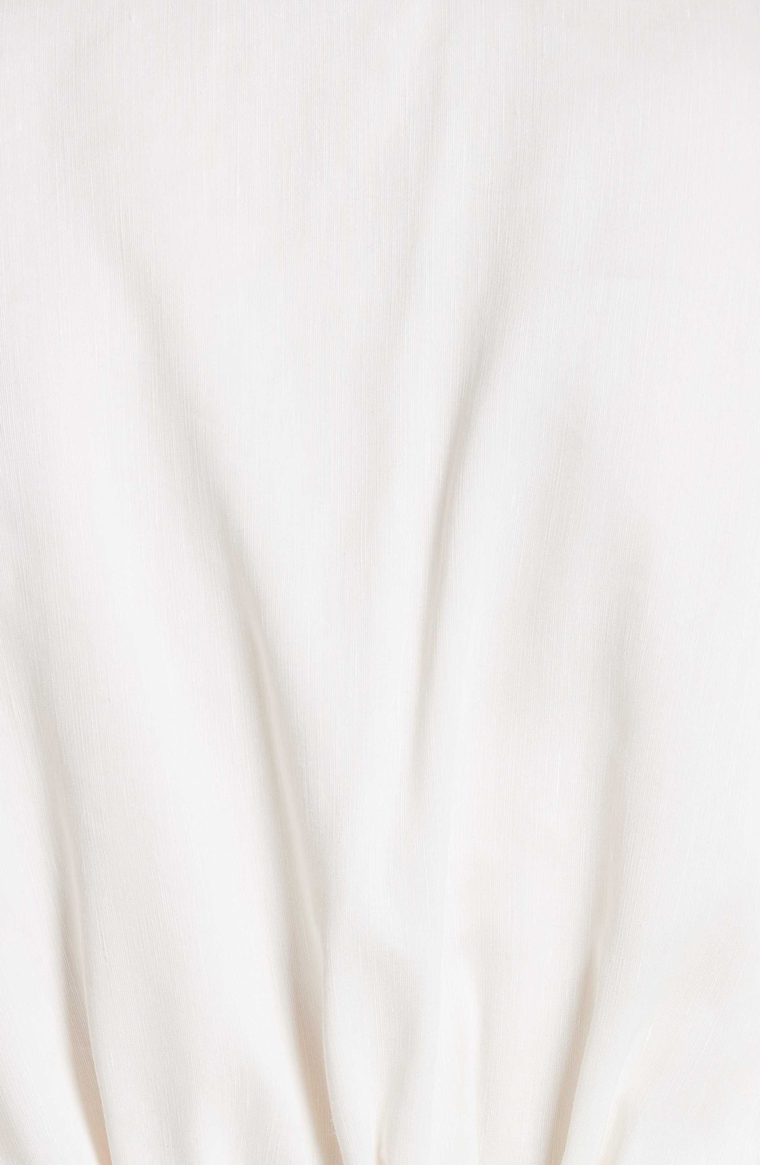 Gathered Linen Blend Dress,                             Alternate thumbnail 6, color,                             White