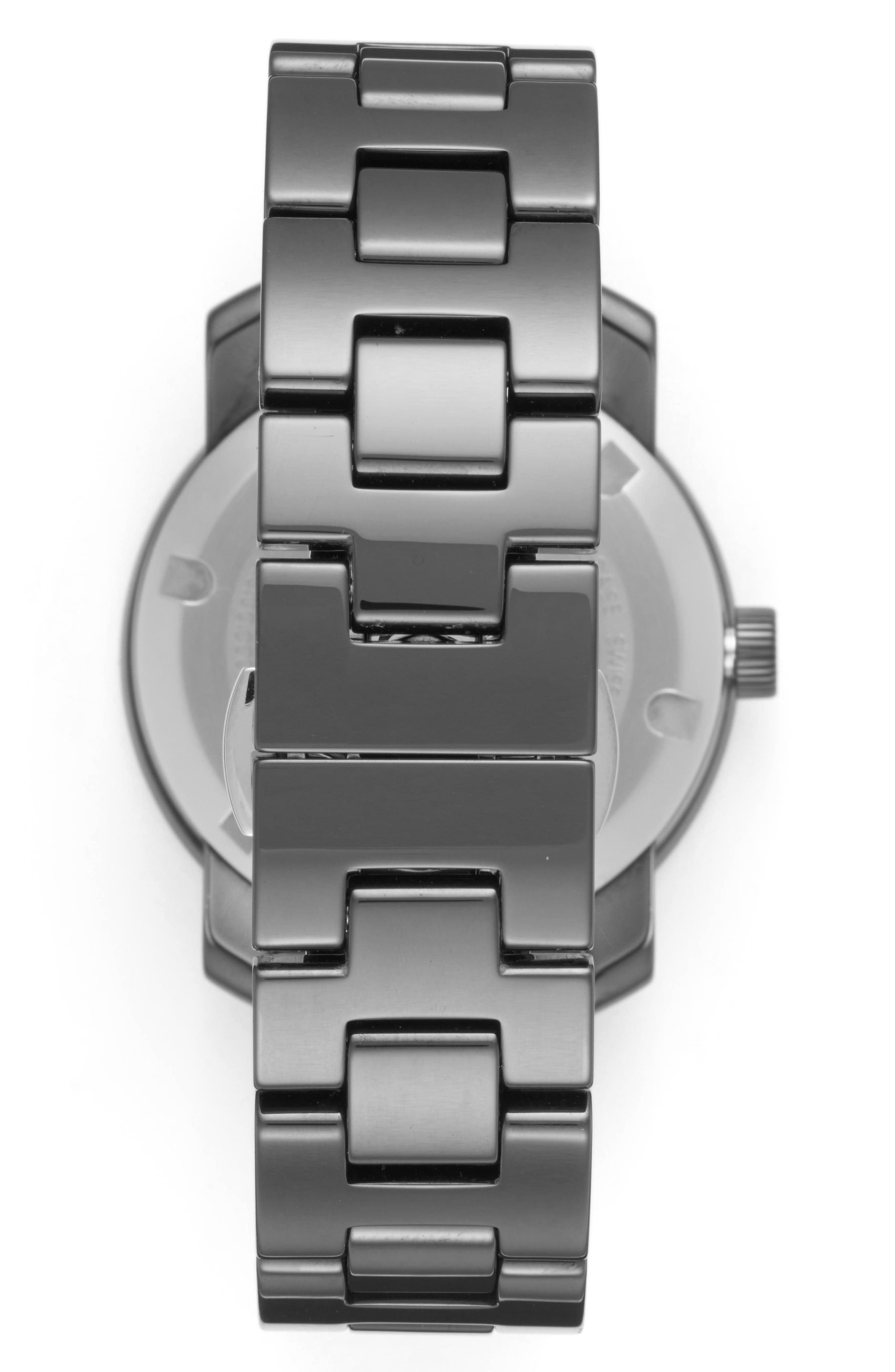 Bold Ceramic Bracelet Watch, 36mm,                             Alternate thumbnail 4, color,                             Black