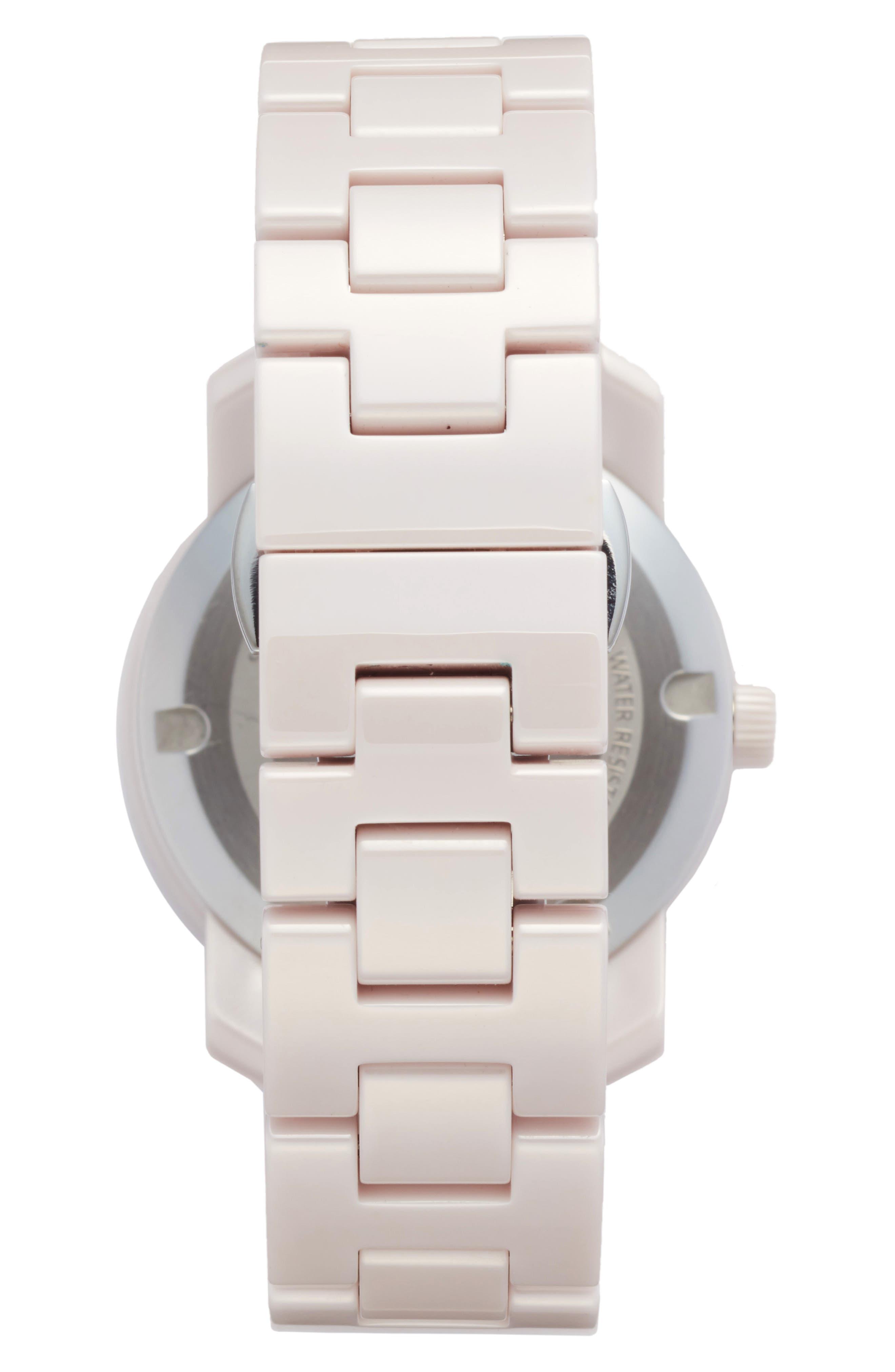 Bold Ceramic Bracelet Watch, 36mm,                             Alternate thumbnail 4, color,                             Blush Pink