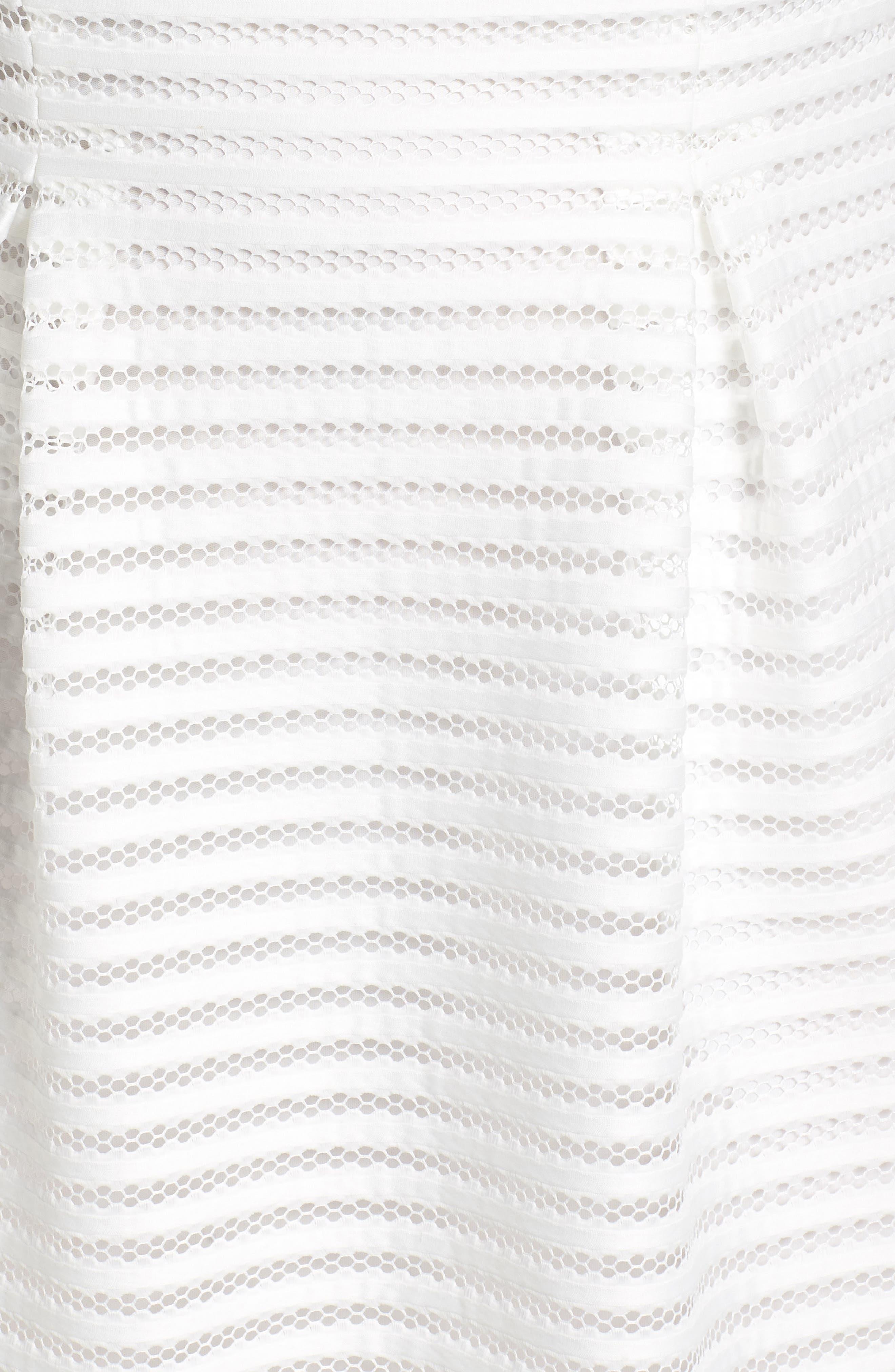 Mesh Stripe Pleated A-Line Dress,                             Alternate thumbnail 6, color,                             Ivory