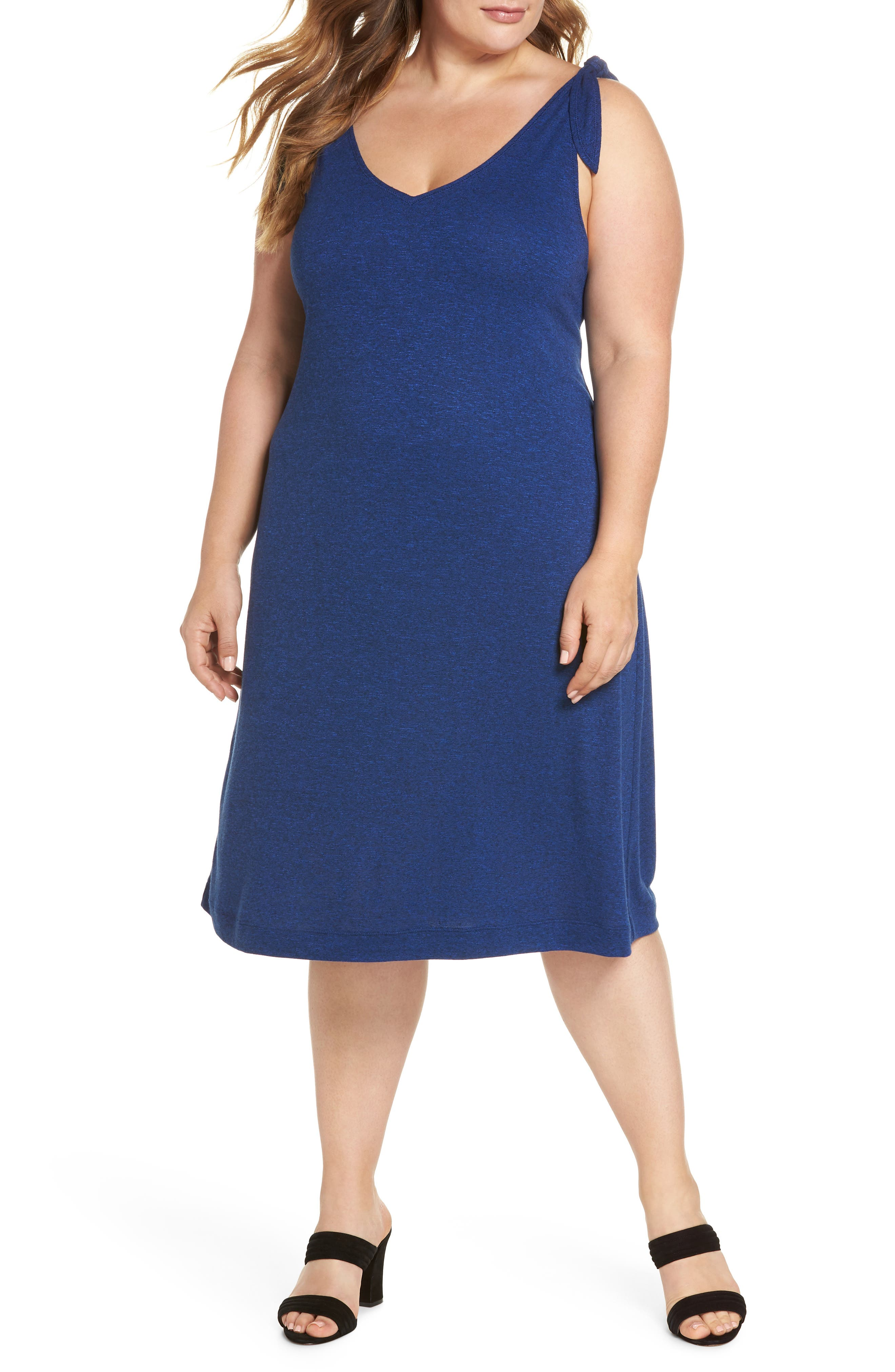 Knot Strap Knit Swing Dress,                         Main,                         color, Cobalt Blue Slub Terry