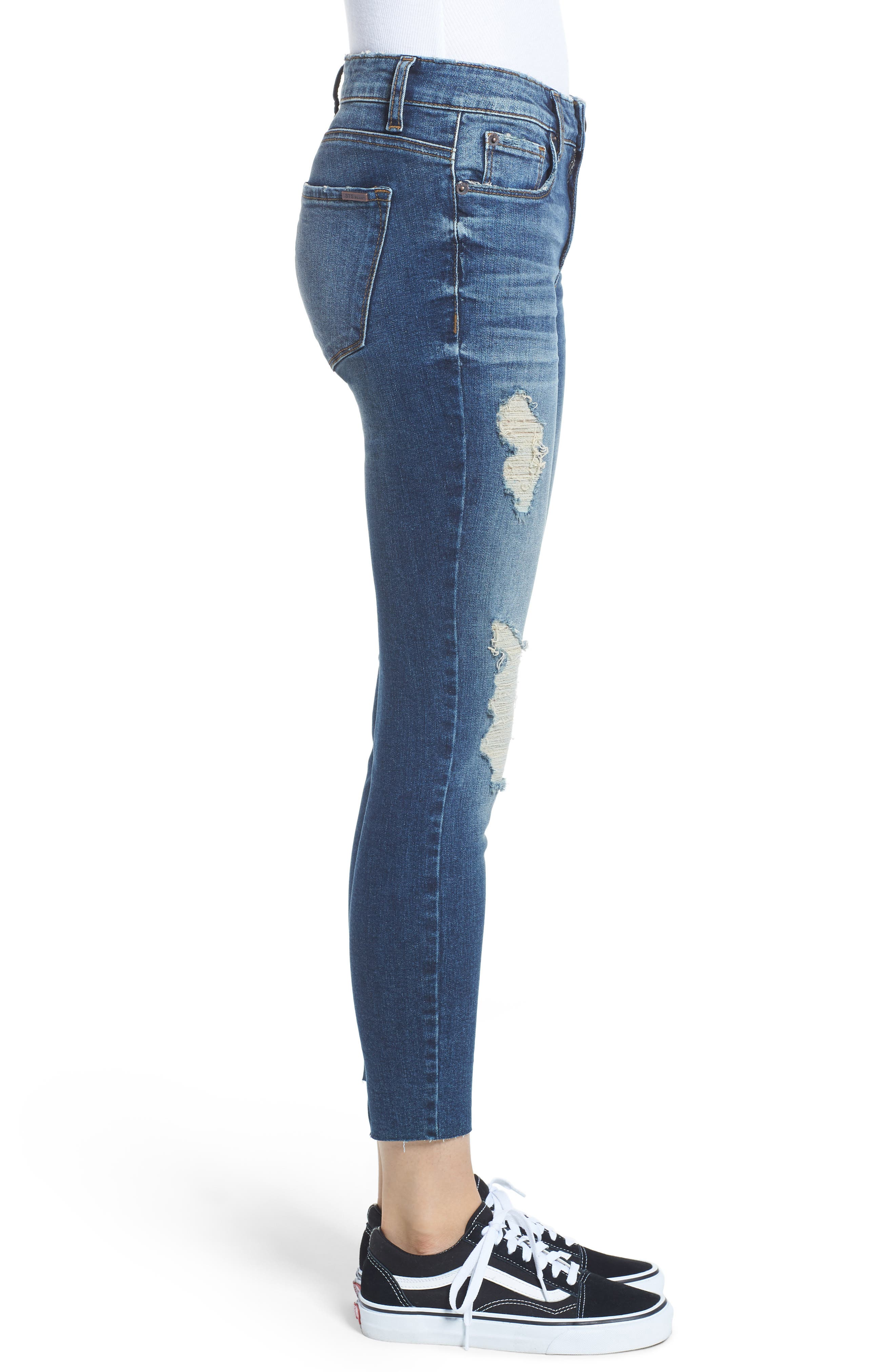 STS Blue Ripped Cutoff Crop Skinny Jeans,                             Alternate thumbnail 3, color,                             Flora W/ Dk Base
