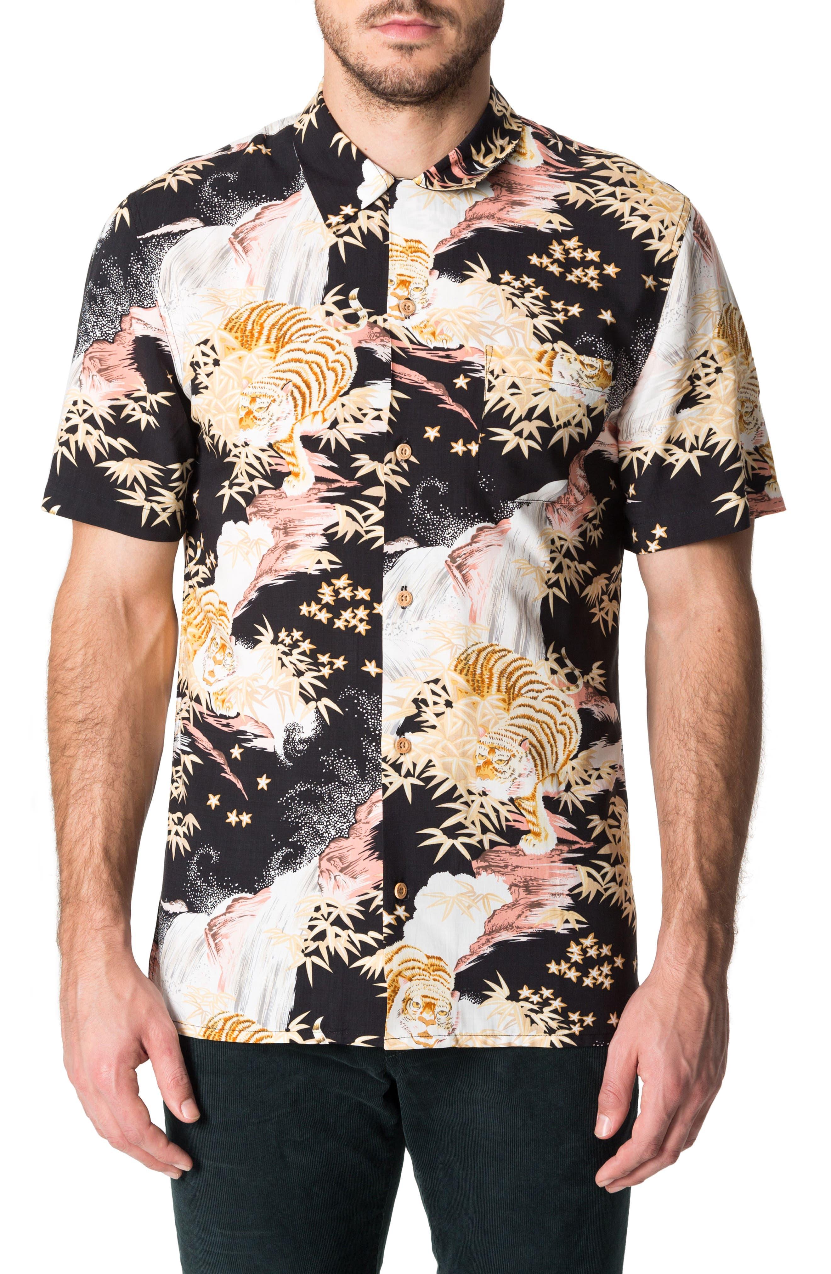 Smiling Faces Slim Fit Short Sleeve Sport Shirt,                         Main,                         color, Black