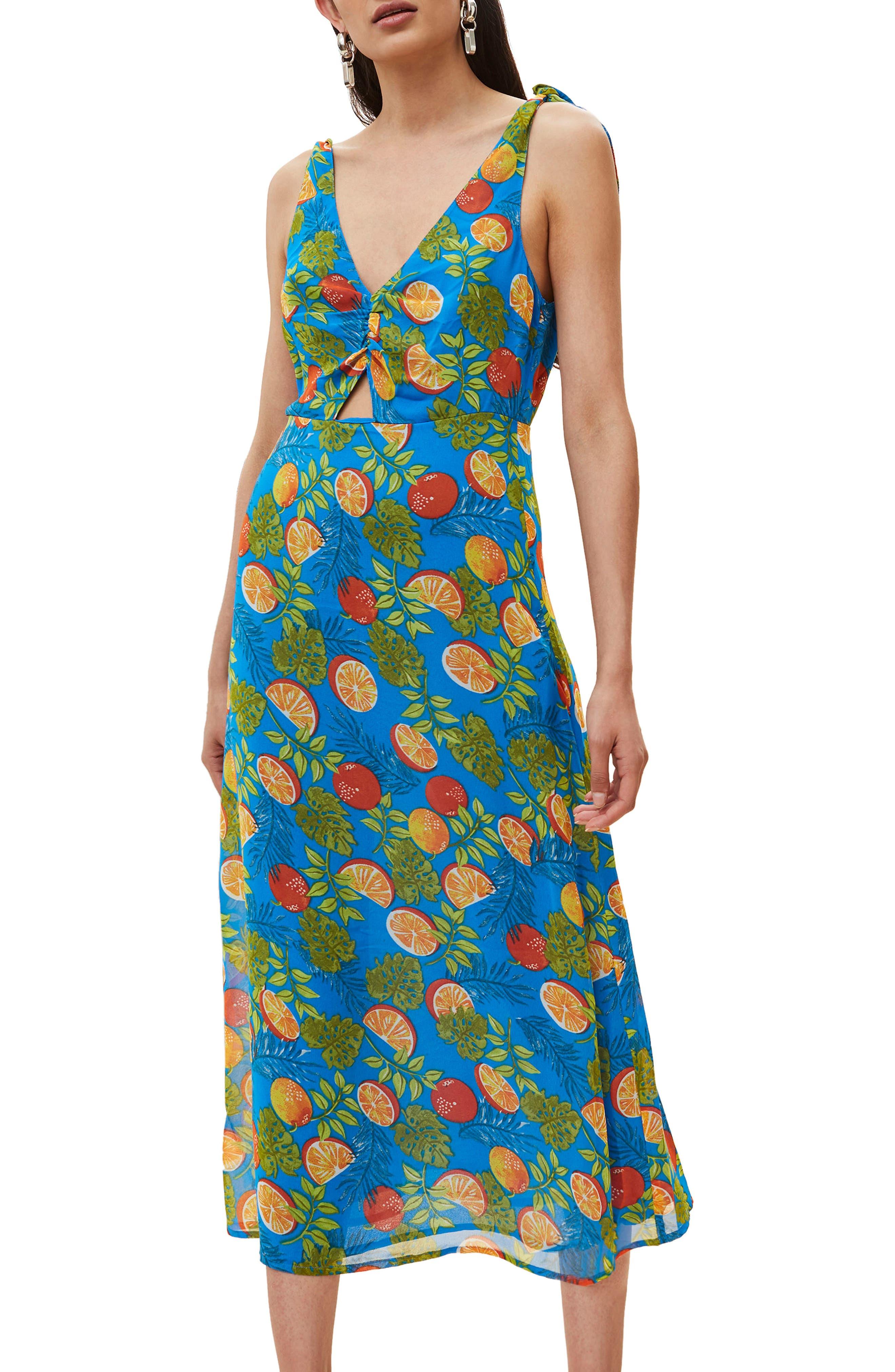 Citrus Tie Shoulder Midi Sundress,                             Main thumbnail 1, color,                             Blue