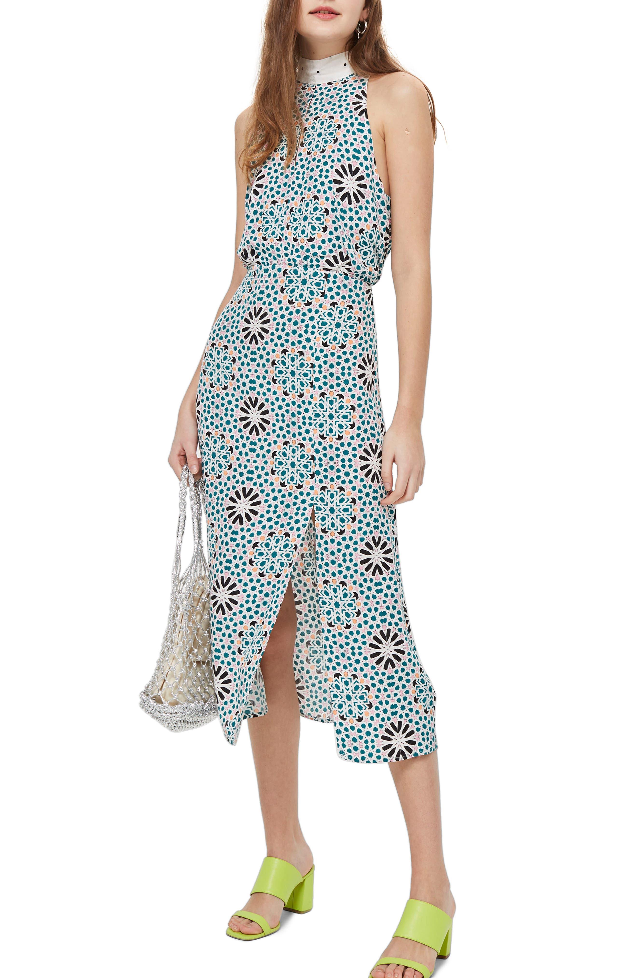 Geo Tie Neck Halter Midi Dress,                             Main thumbnail 1, color,                             Blue Multi
