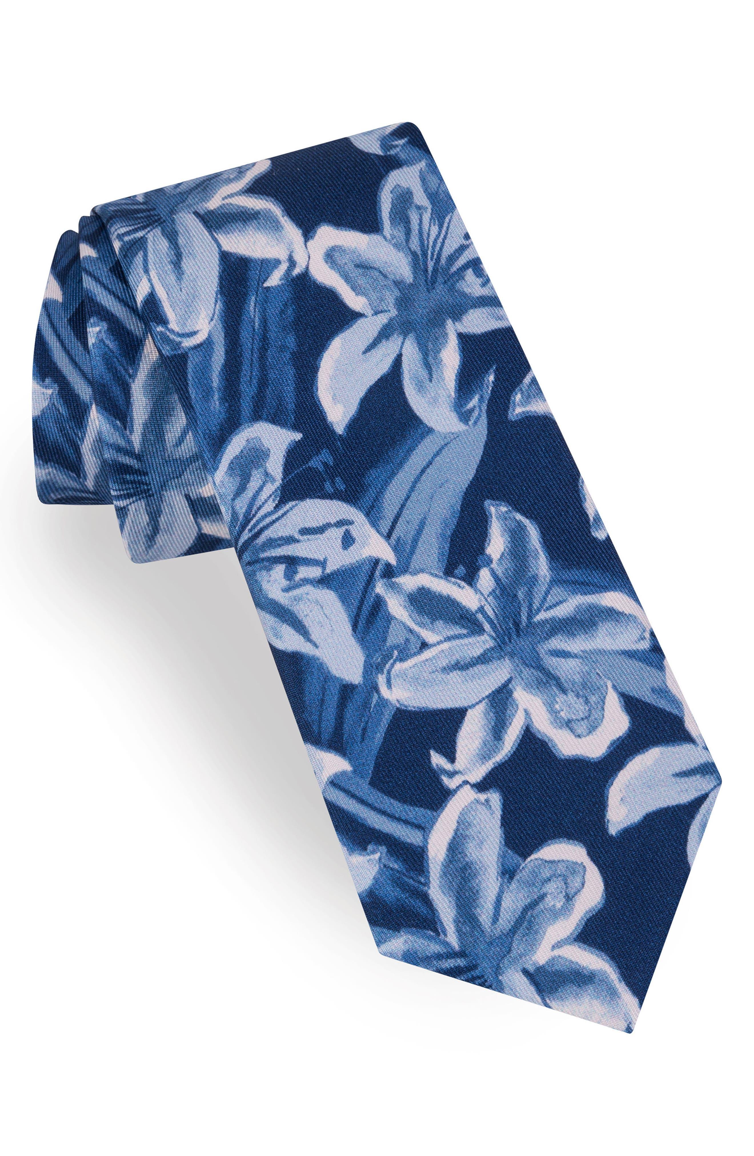 Lily Print Silk Tie,                             Main thumbnail 1, color,                             Light Blue