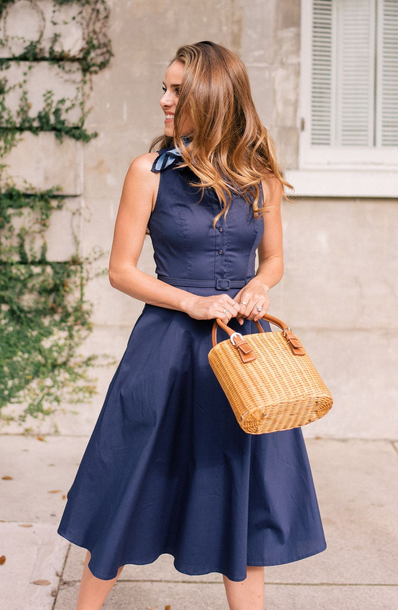 Rose Sleeveless Cotton Poplin Shirtdress,                             Alternate thumbnail 2, color,                             Navy