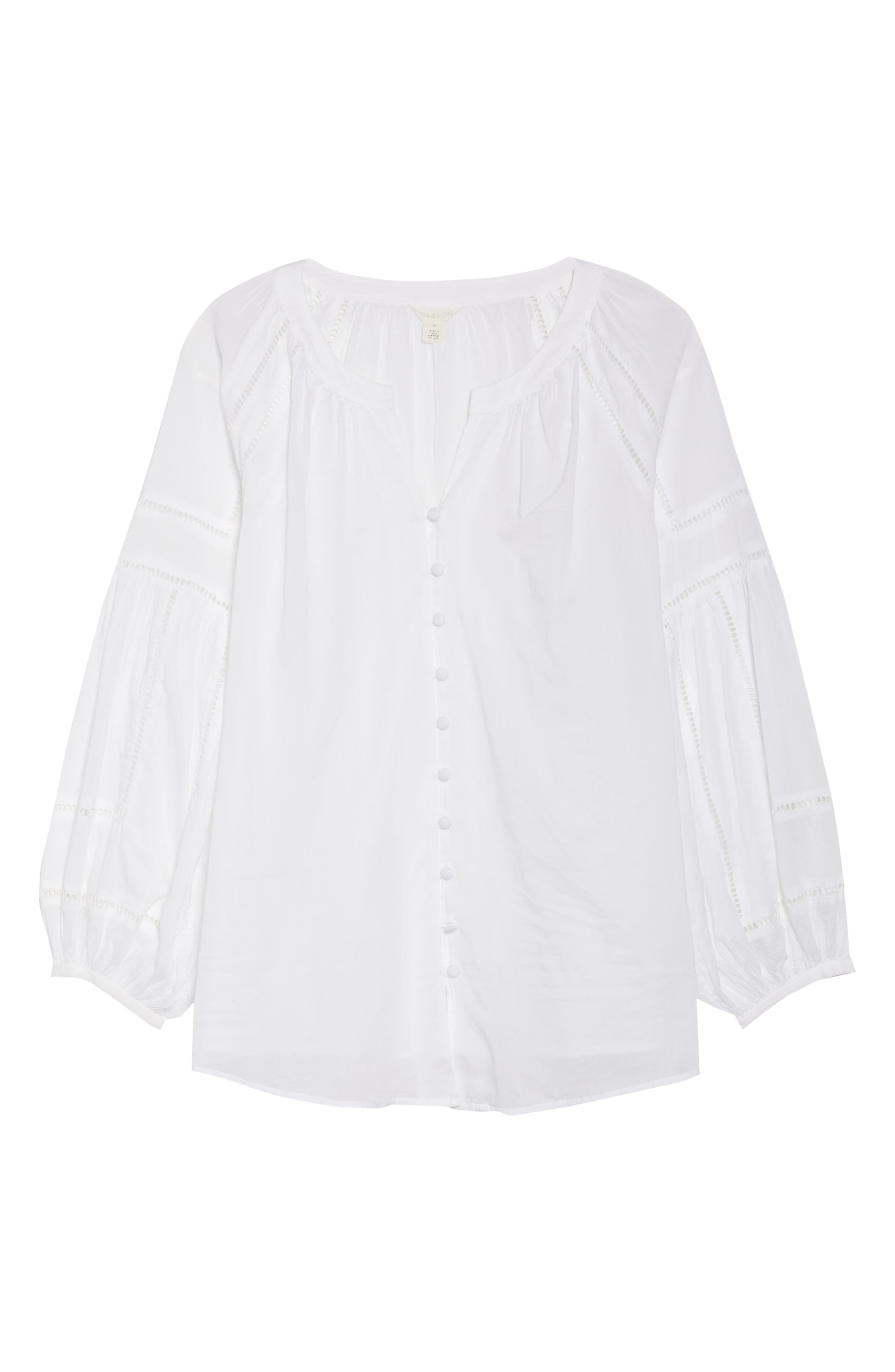 Embroidered Peasant Sleeve Top,                             Alternate thumbnail 7, color,                             White