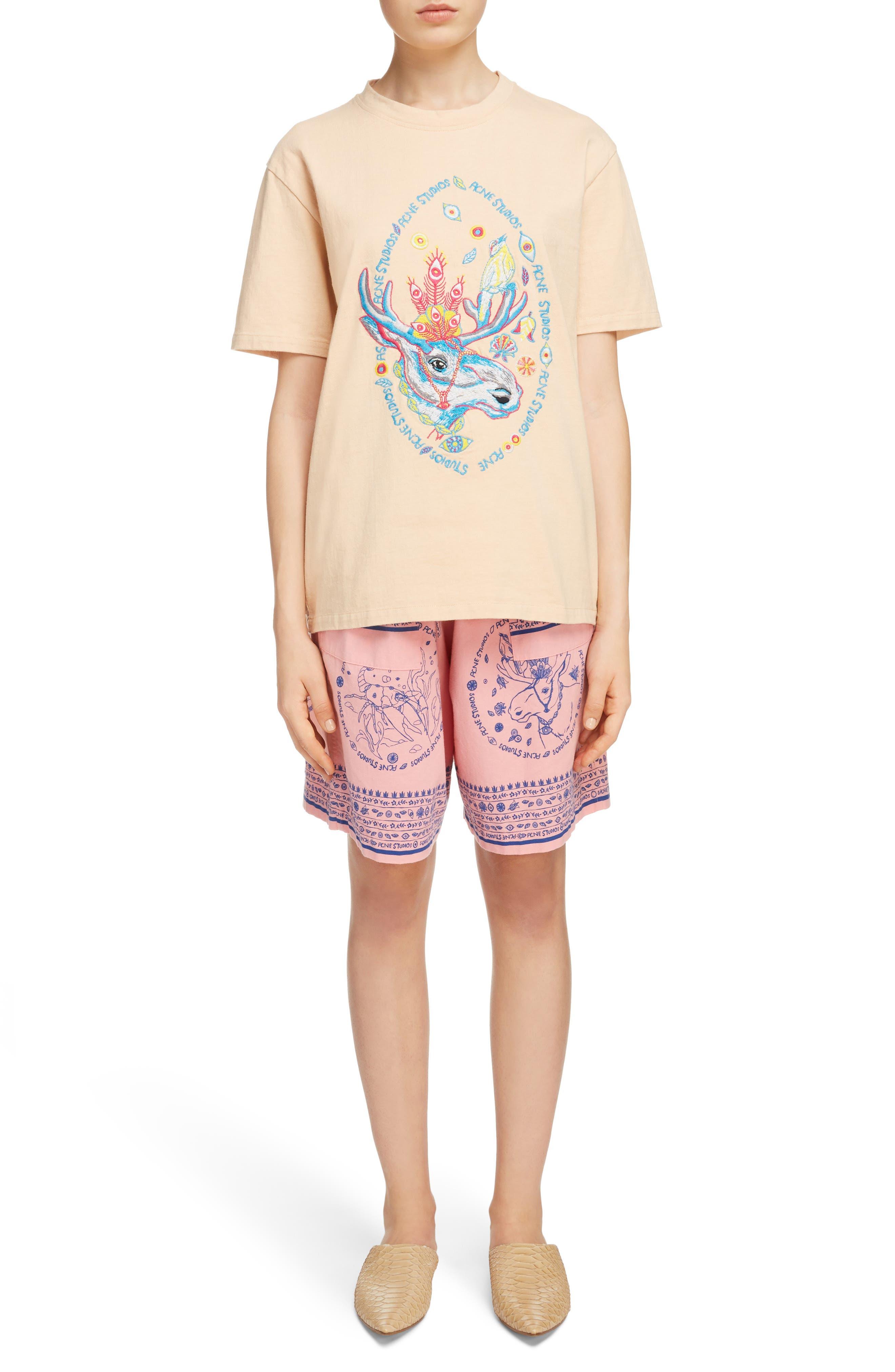 Nejlika Print Shorts,                             Alternate thumbnail 7, color,                             Pink Block Print