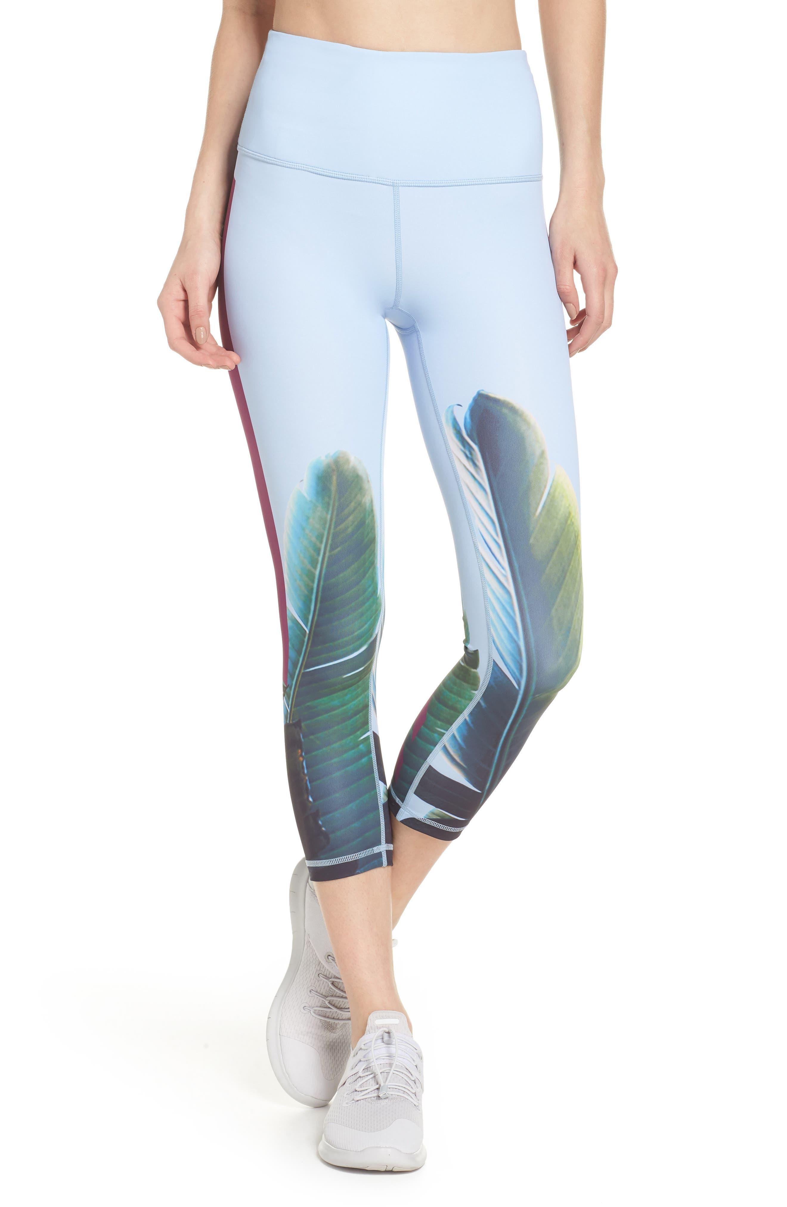 Pure Vision High Waist Crop Leggings,                         Main,                         color, Blue Kentucky Under Palms Prt