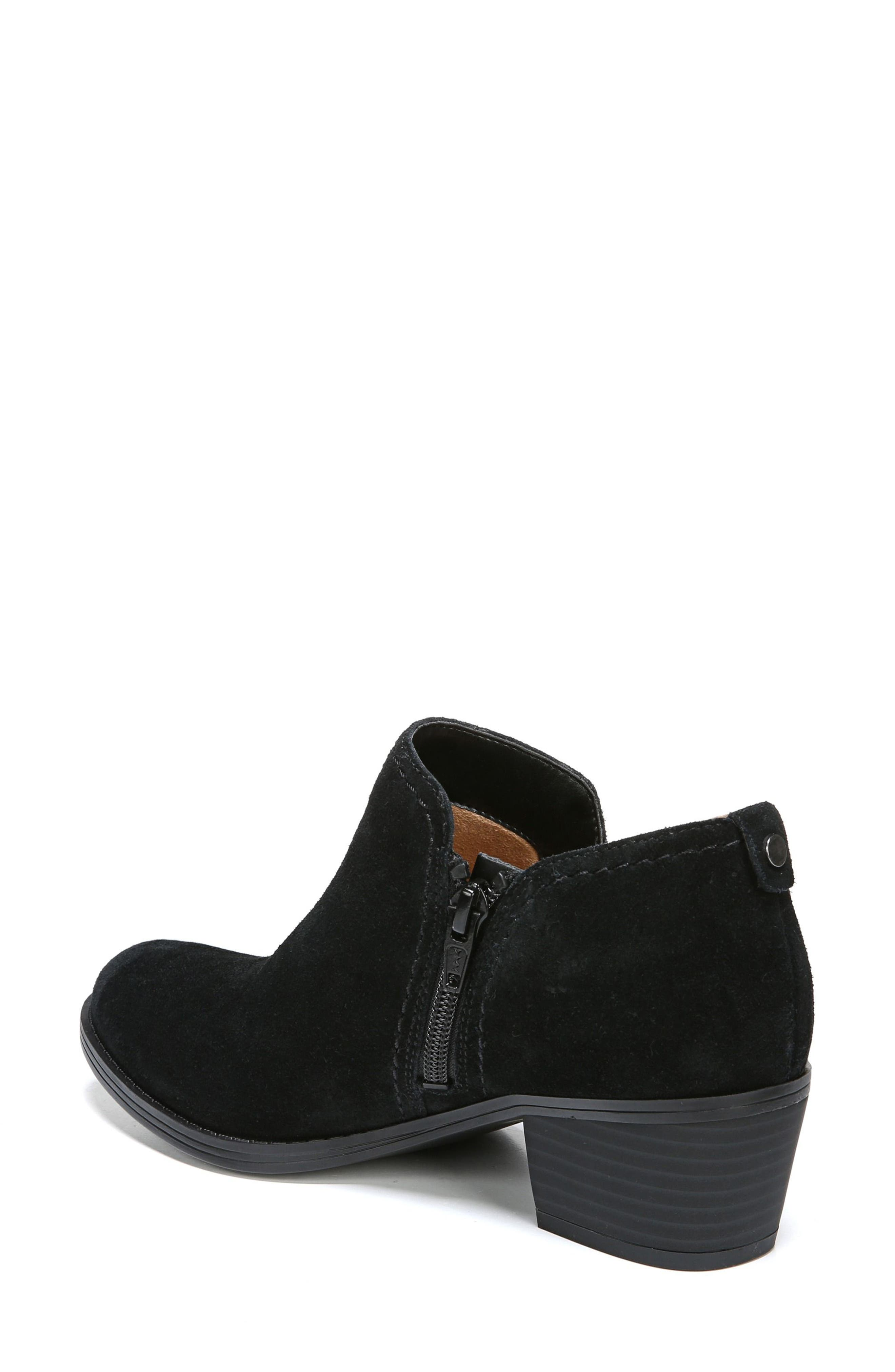 'Zarie' Block Heel Bootie,                             Alternate thumbnail 2, color,                             Black Suede